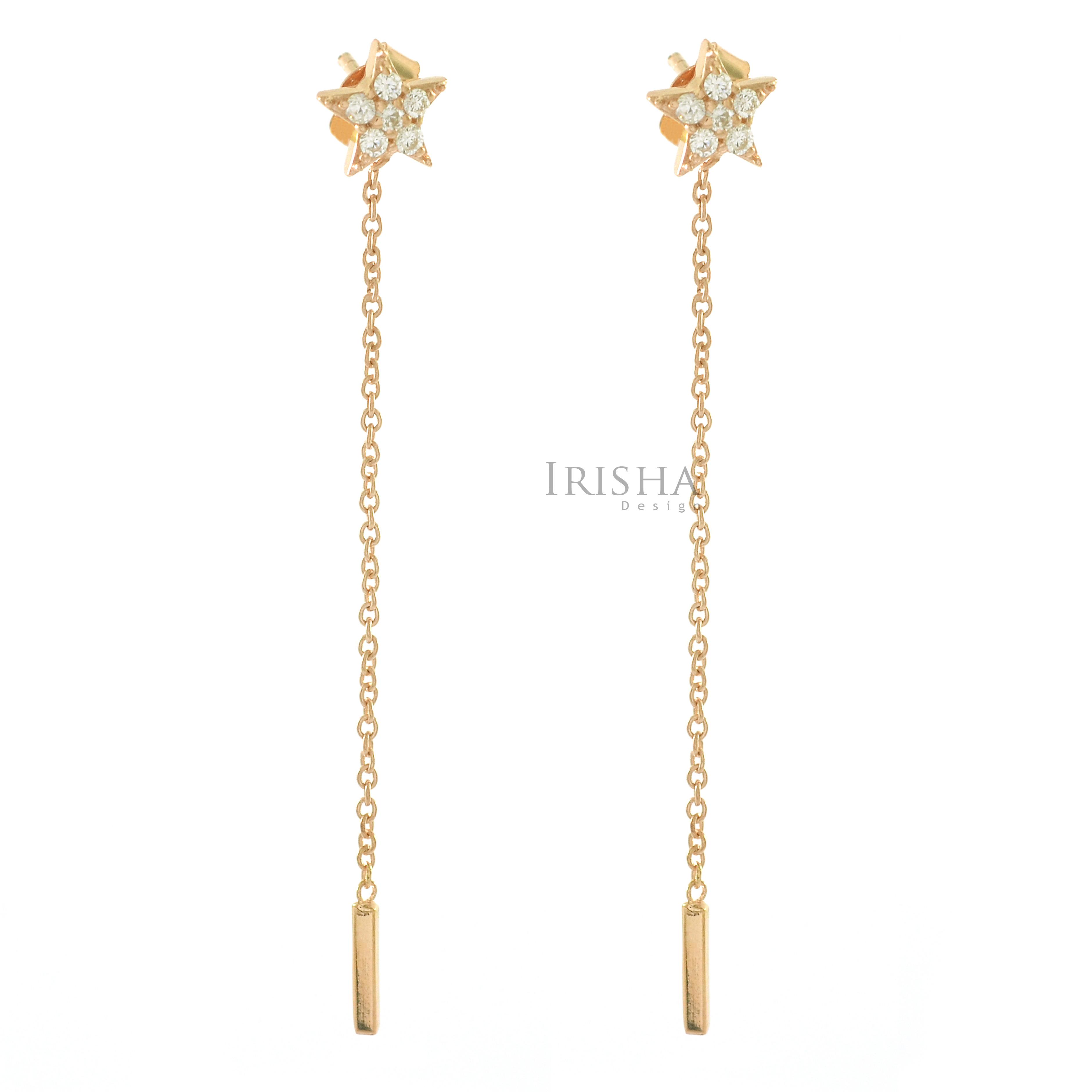 14K Gold 0.12 Ct. Genuine Diamond Star Long Chain Earrings Fine Jewelry