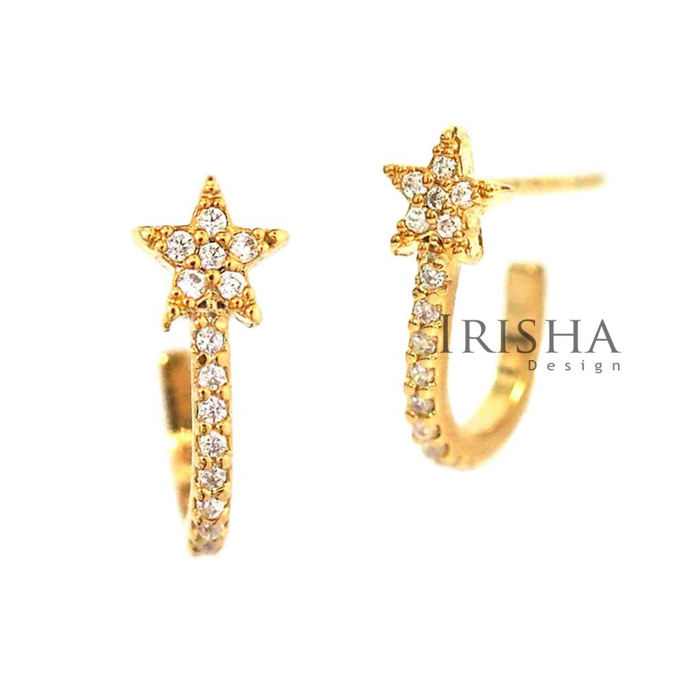 14K Gold 0.23 Ct. Genuine Diamond Star Hoop Earrings Fine Celestial Jewelry