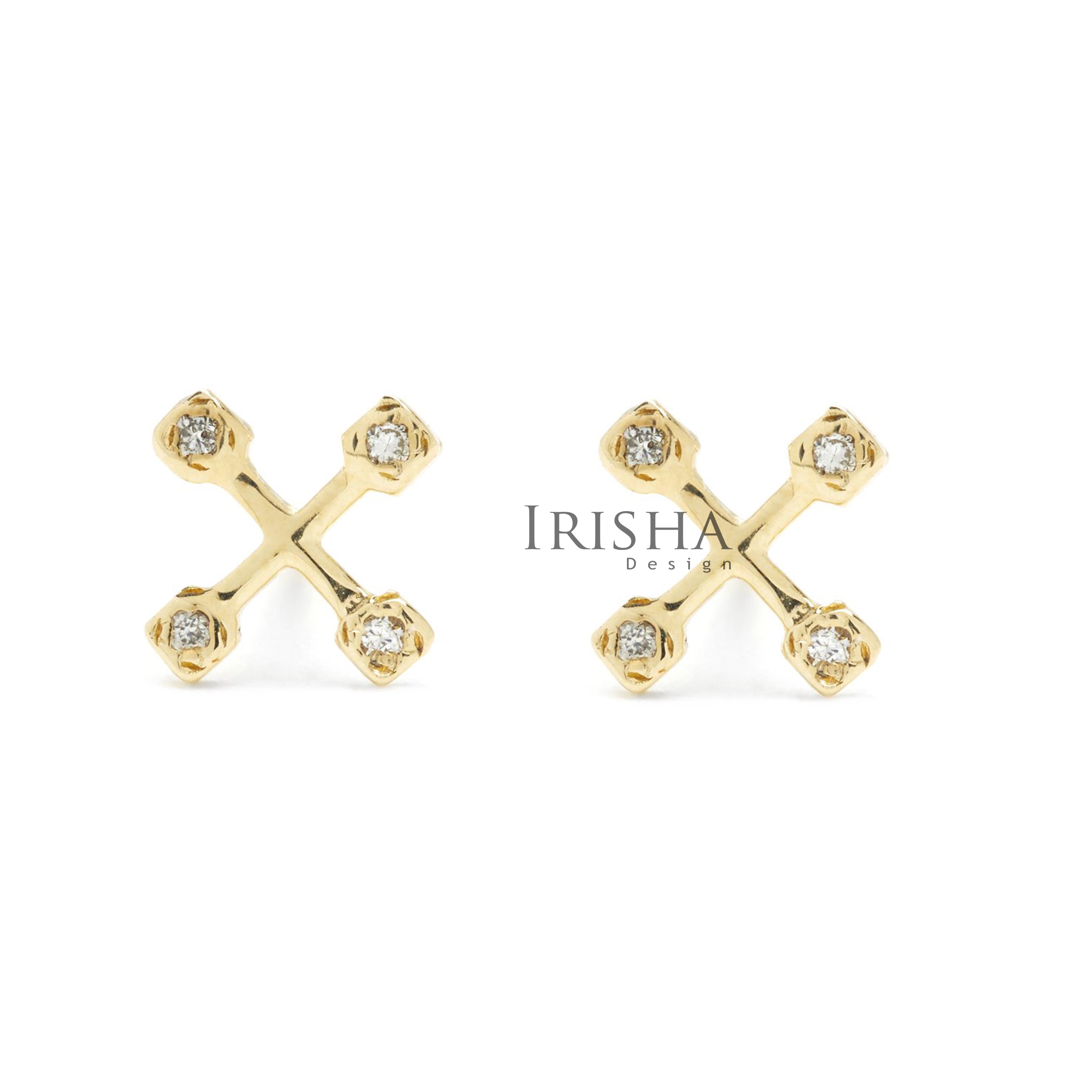 14K Gold 0.20 Ct. Genuine Diamond Tiny Sun catcher Cross Earrings Fine Jewelry