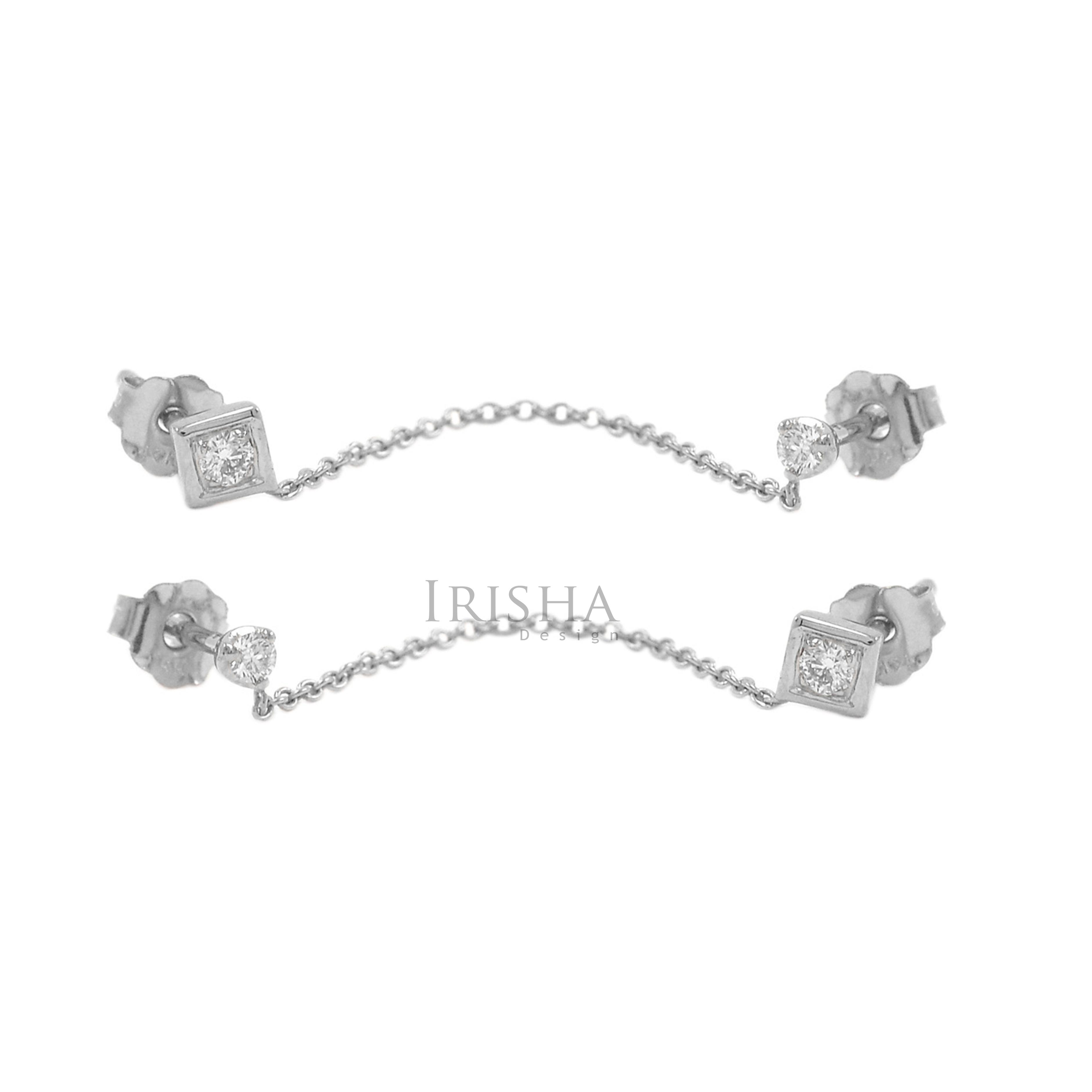 14K Gold 0.14 Ct. Natural Diamond Double Lobe Piercing Chain Earrings Jewelry