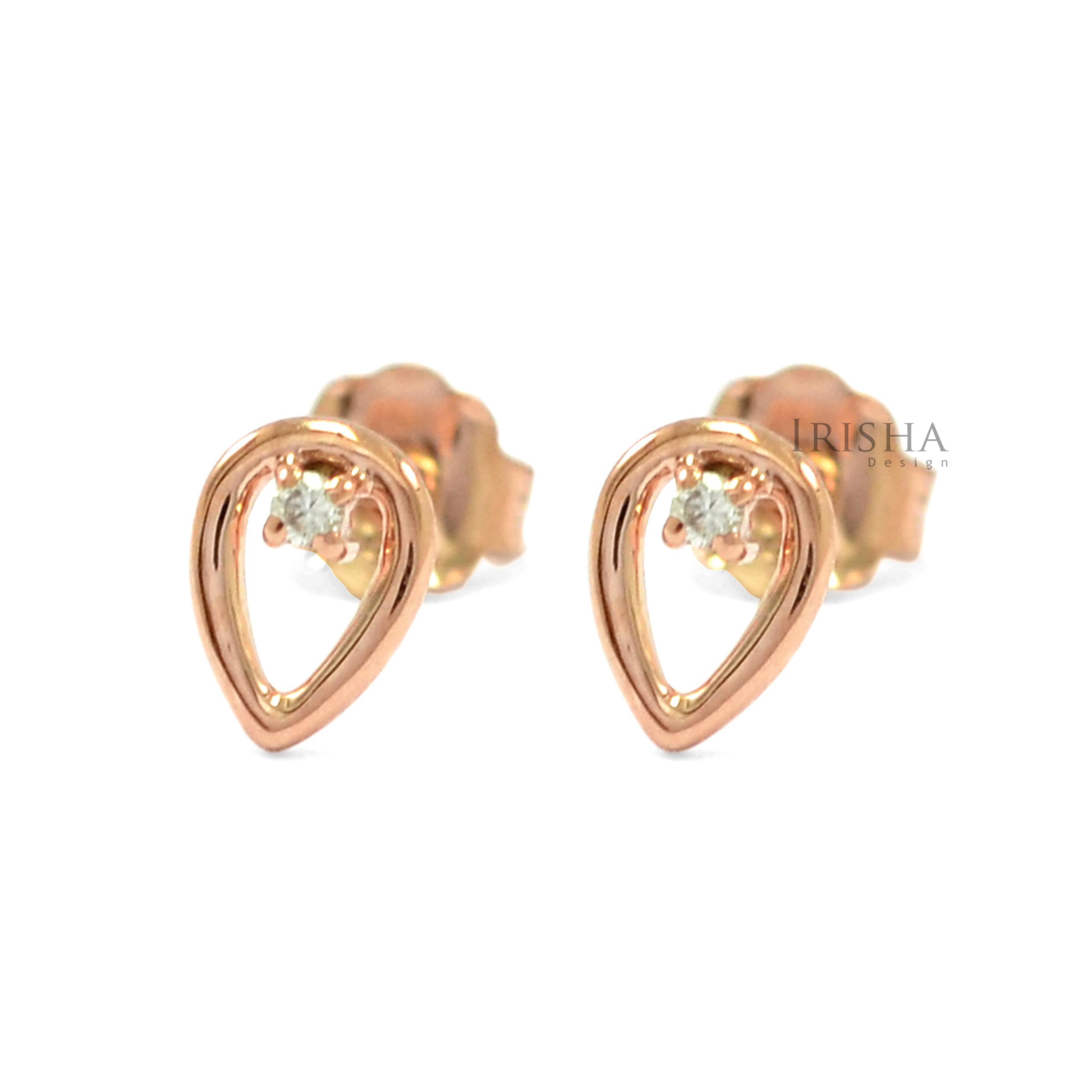 14K Gold 0.02 Ct. Genuine Diamond 5 mm Pear Shape Stud Earrings Fine Jewelry