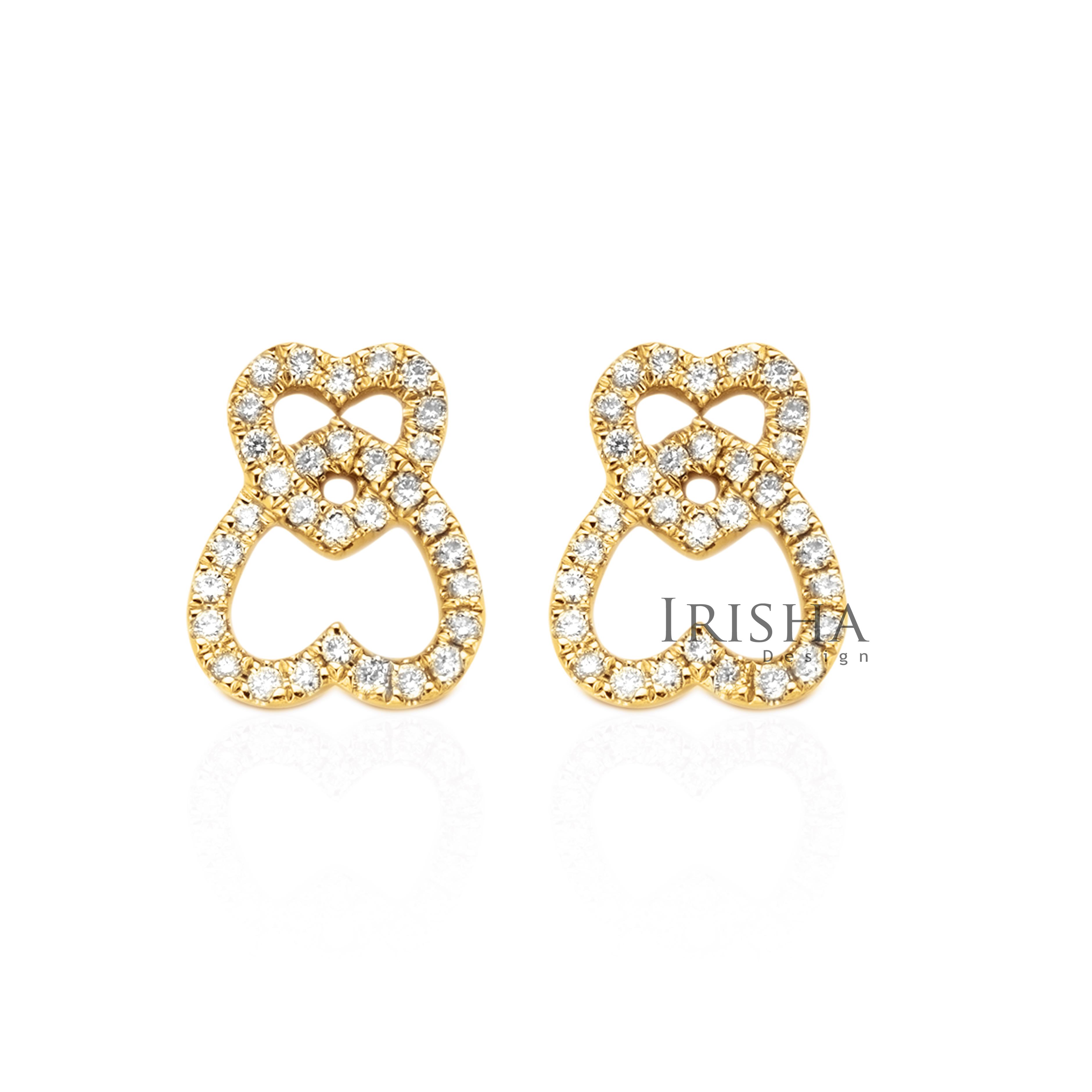 14K Gold 0.26 Ct. Genuine Diamond Heart In Heart Mother's Day Studs Earrings