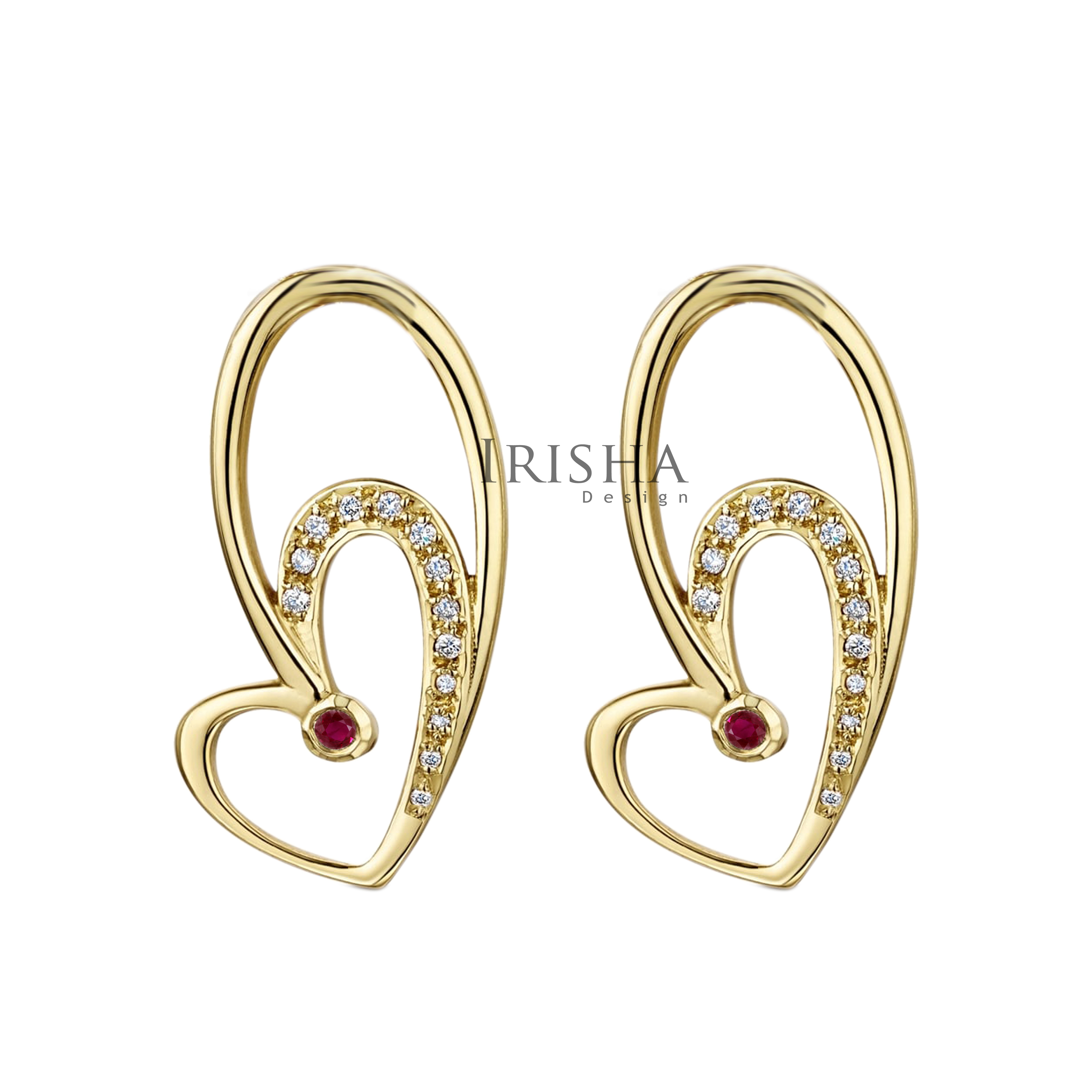14K Gold Genuine Diamond And Ruby Special Heart Hook Earrings Mother's Day Gift