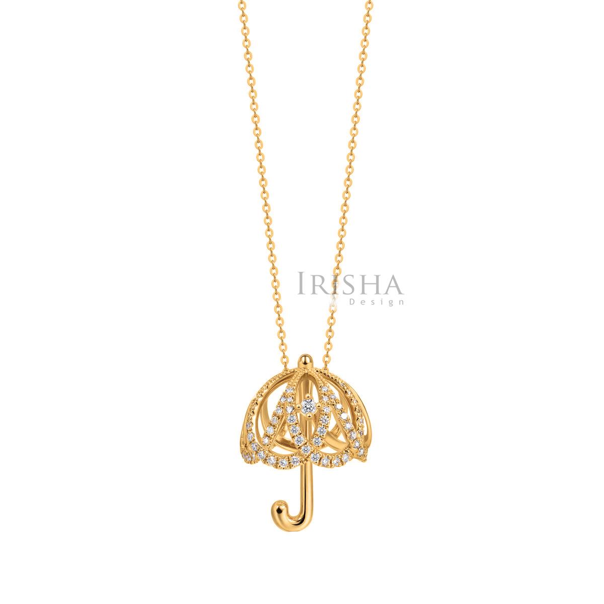 14K Gold 0.27 Ct. Genuine Diamond Umbrella Shape Pendant Necklace Fine Jewelry
