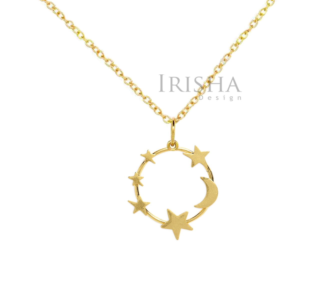 14K Solid Plain Gold Round Moon Star Pendant Necklace Handmade Fine Jewelry
