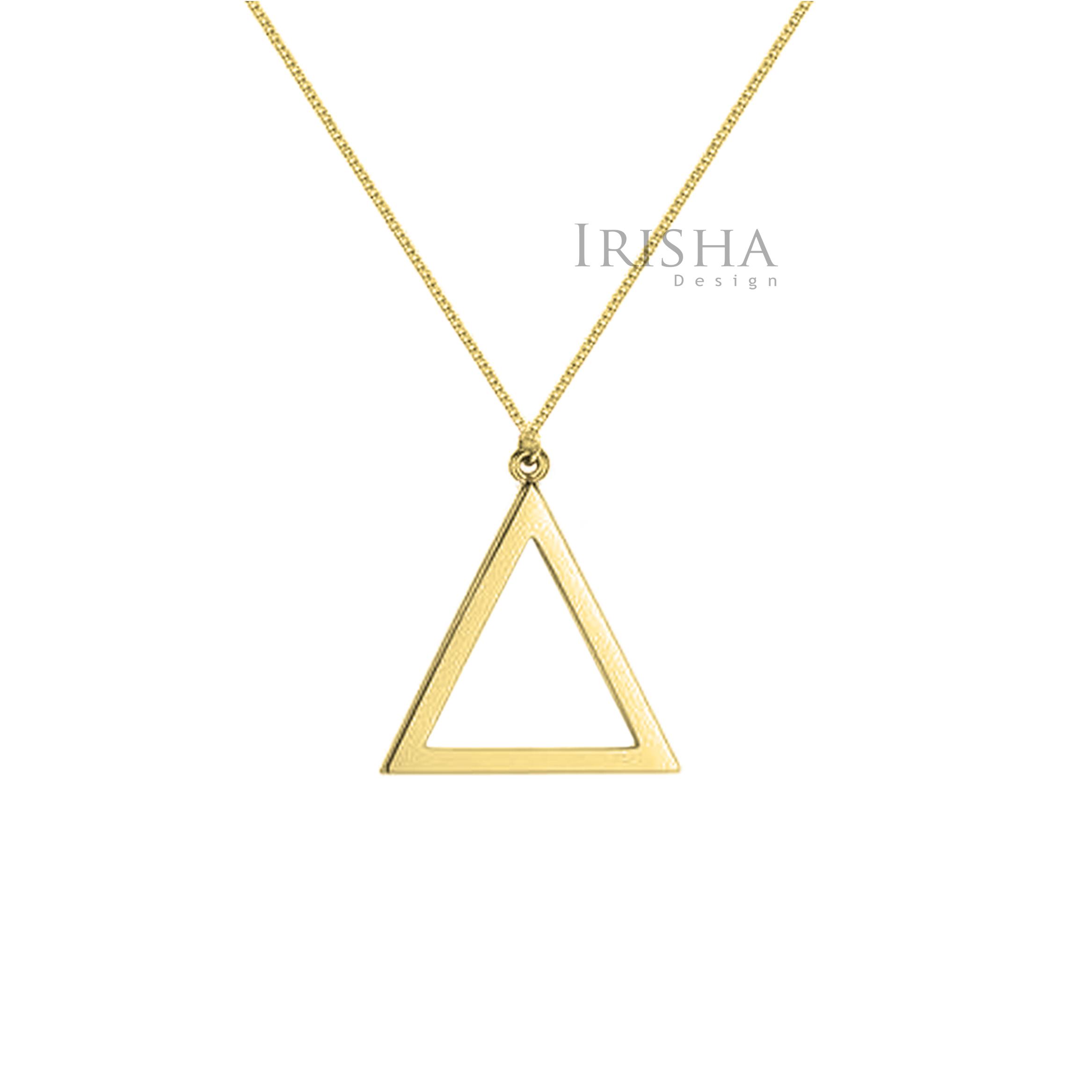14K Solid Plain Gold Triangle Shape Pendant Necklace Handmade Fine Jewelry