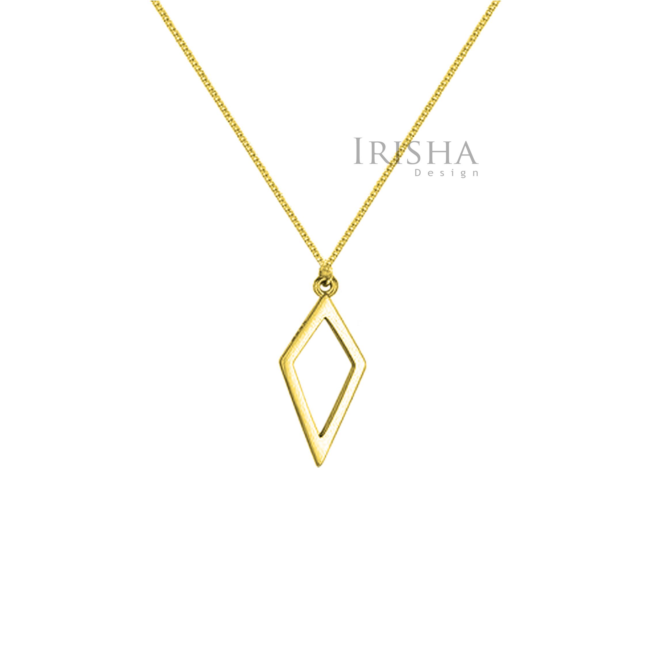 14K Solid Plain Gold Rhombus Shape Pendant Necklace Handmade Fine Jewelry