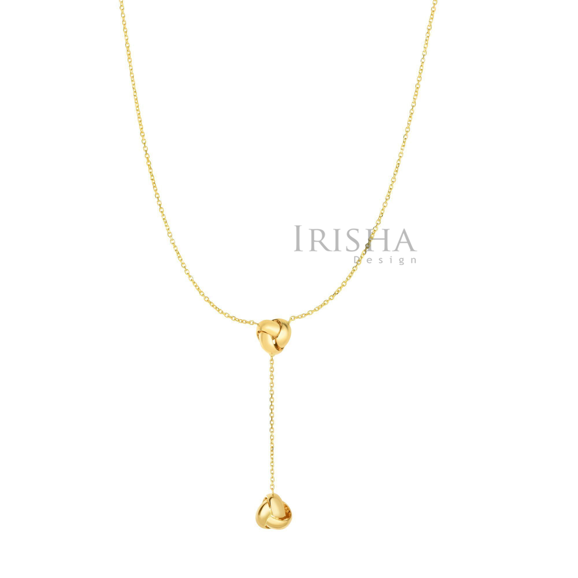 14K Yellow Gold Shiny Diamond Cut Love knot Drop Lariat Mother's Day Necklace
