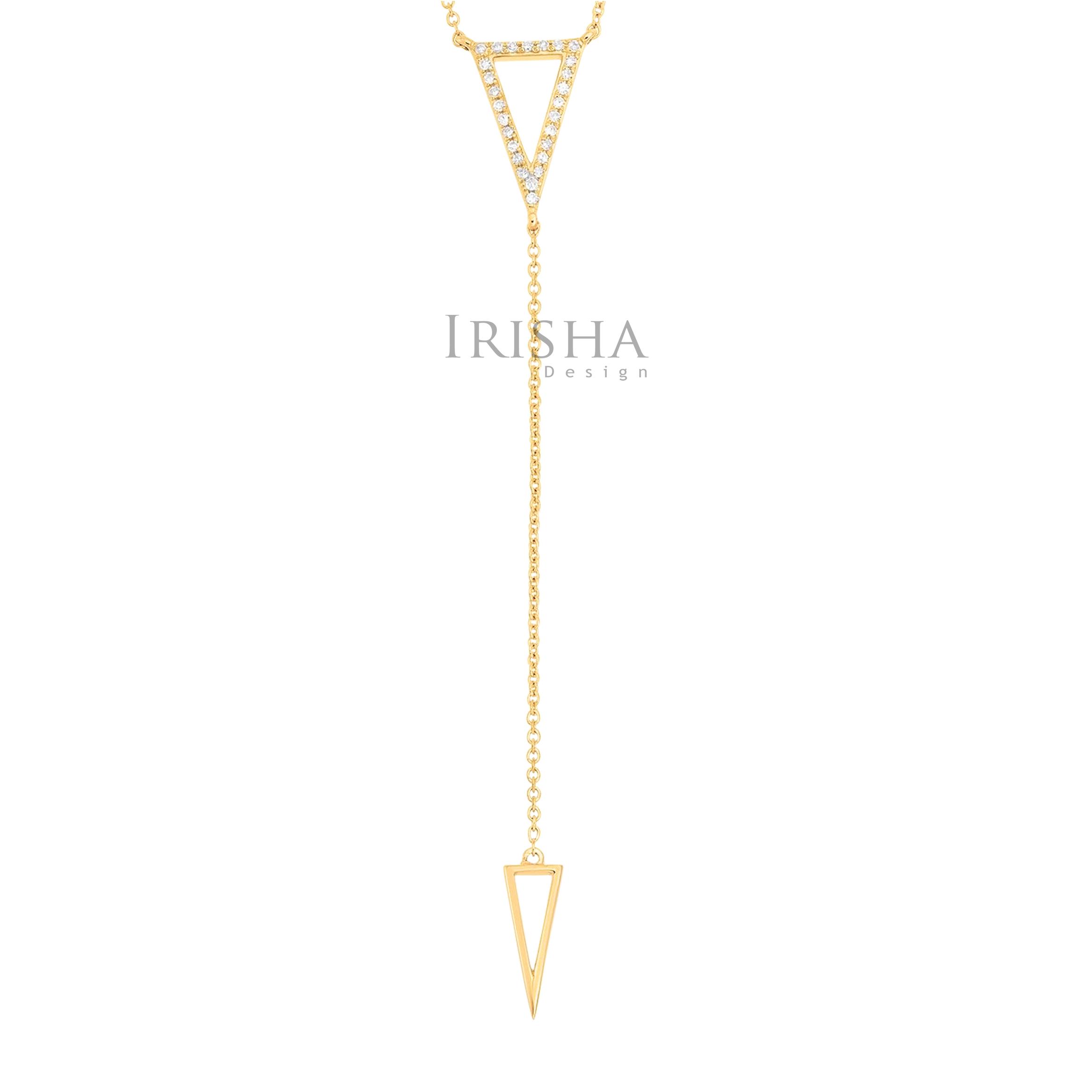 14K Gold 0.15 Ct. Genuine Diamond Arrowhead Drop Lariat Necklace Fine Jewelry