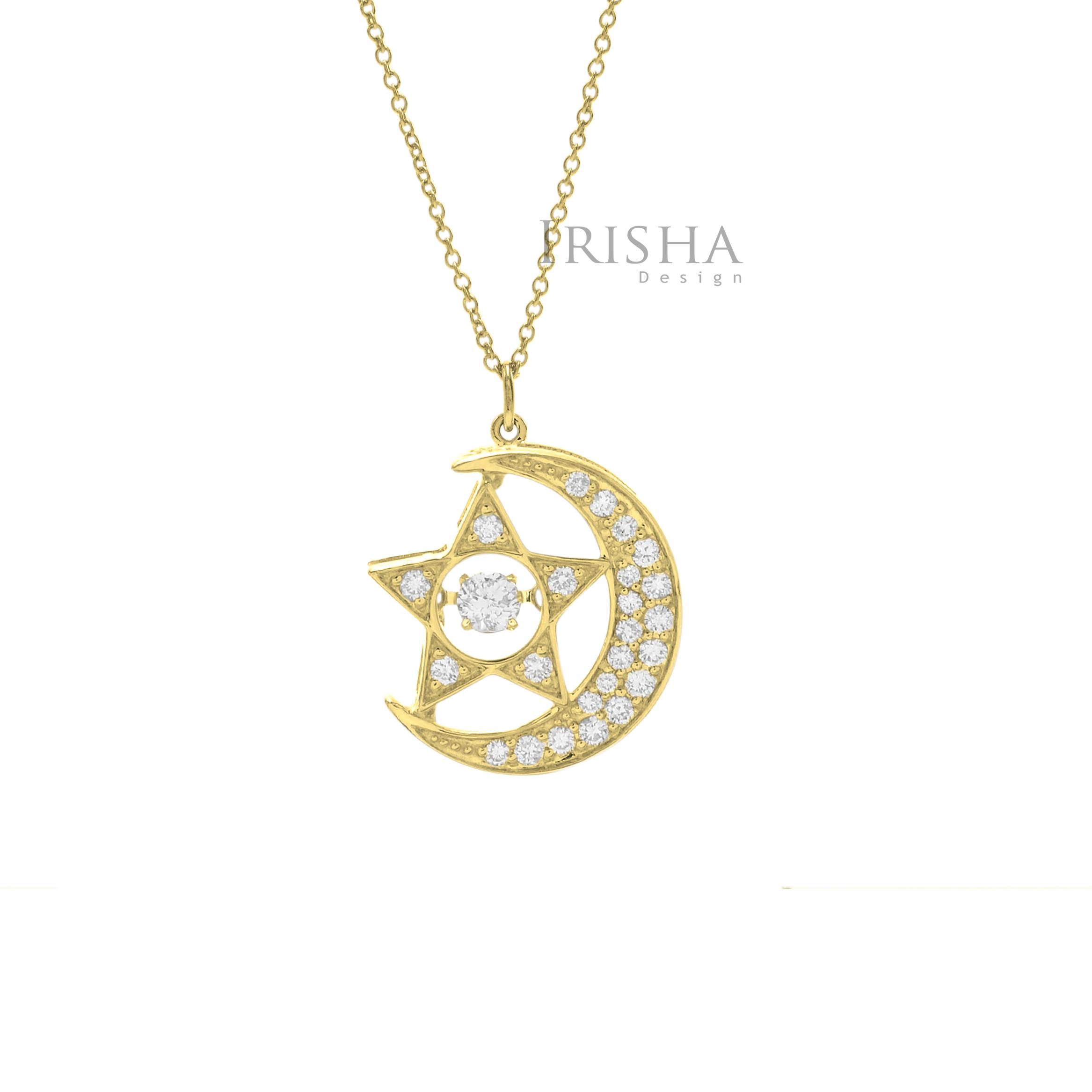 14K Gold 0.28 Ct. Genuine Diamond Crescent Moon Star Charm Necklace Fine Jewelry