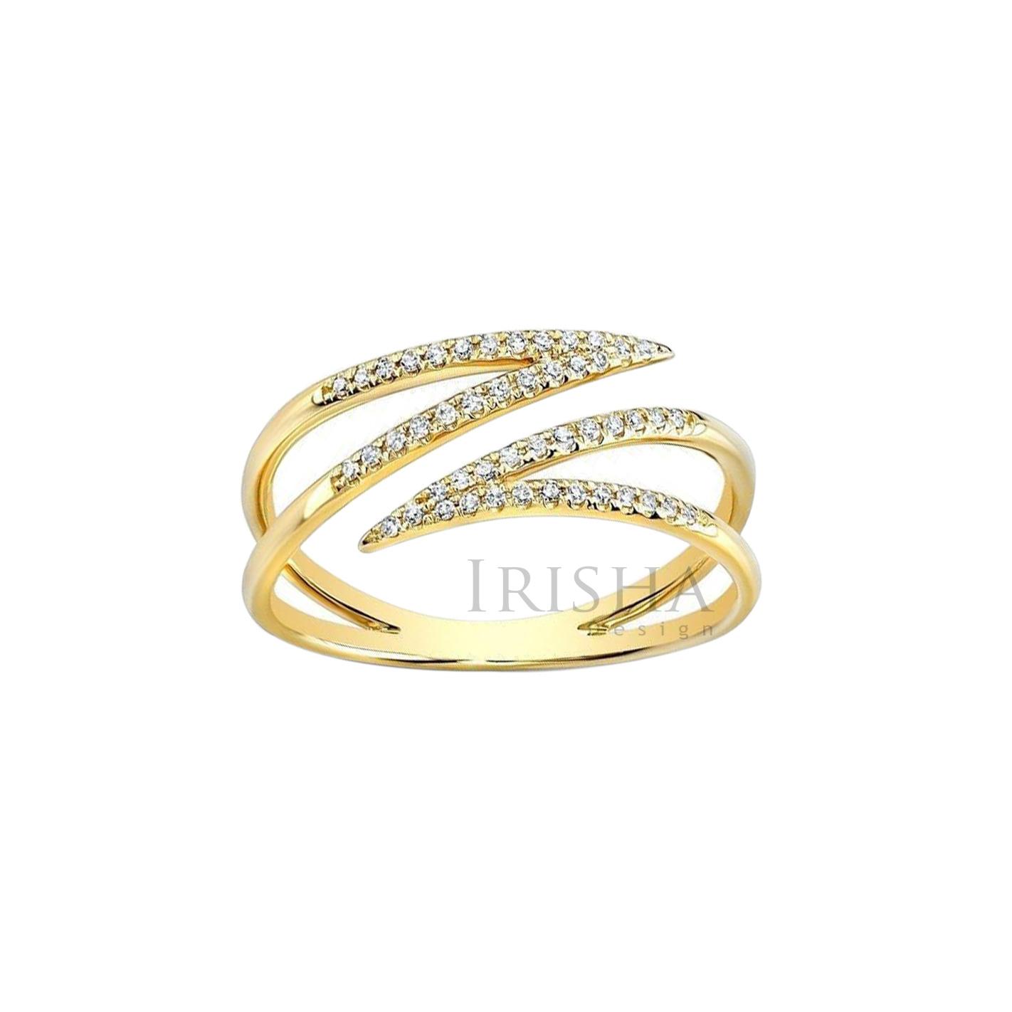 14K Gold Natural Diamond Cuff Design Ring Handmade Fine Jewelry