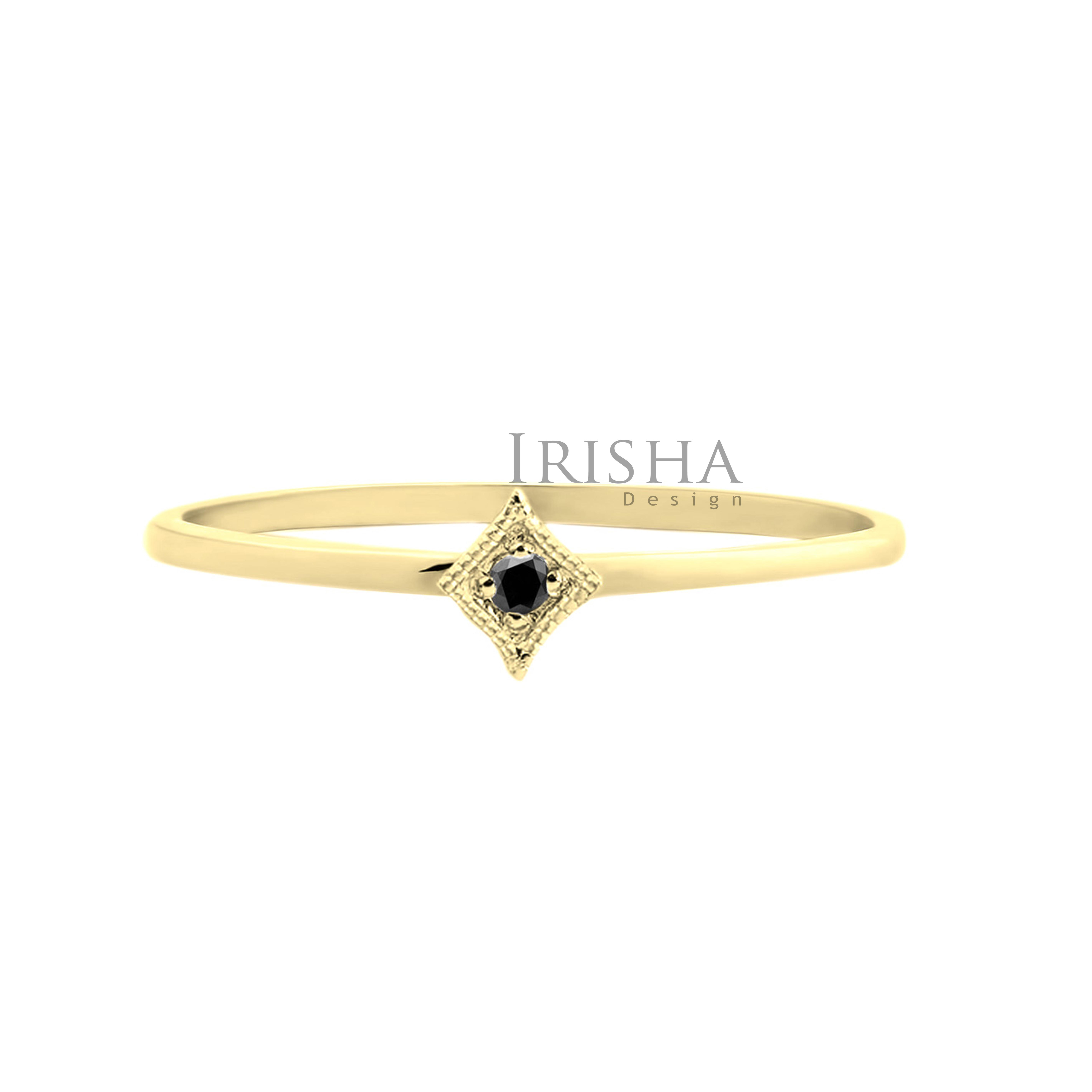 14K Gold 0.02 Ct. Genuine Black Diamond Ring Handmade Fine Jewelry