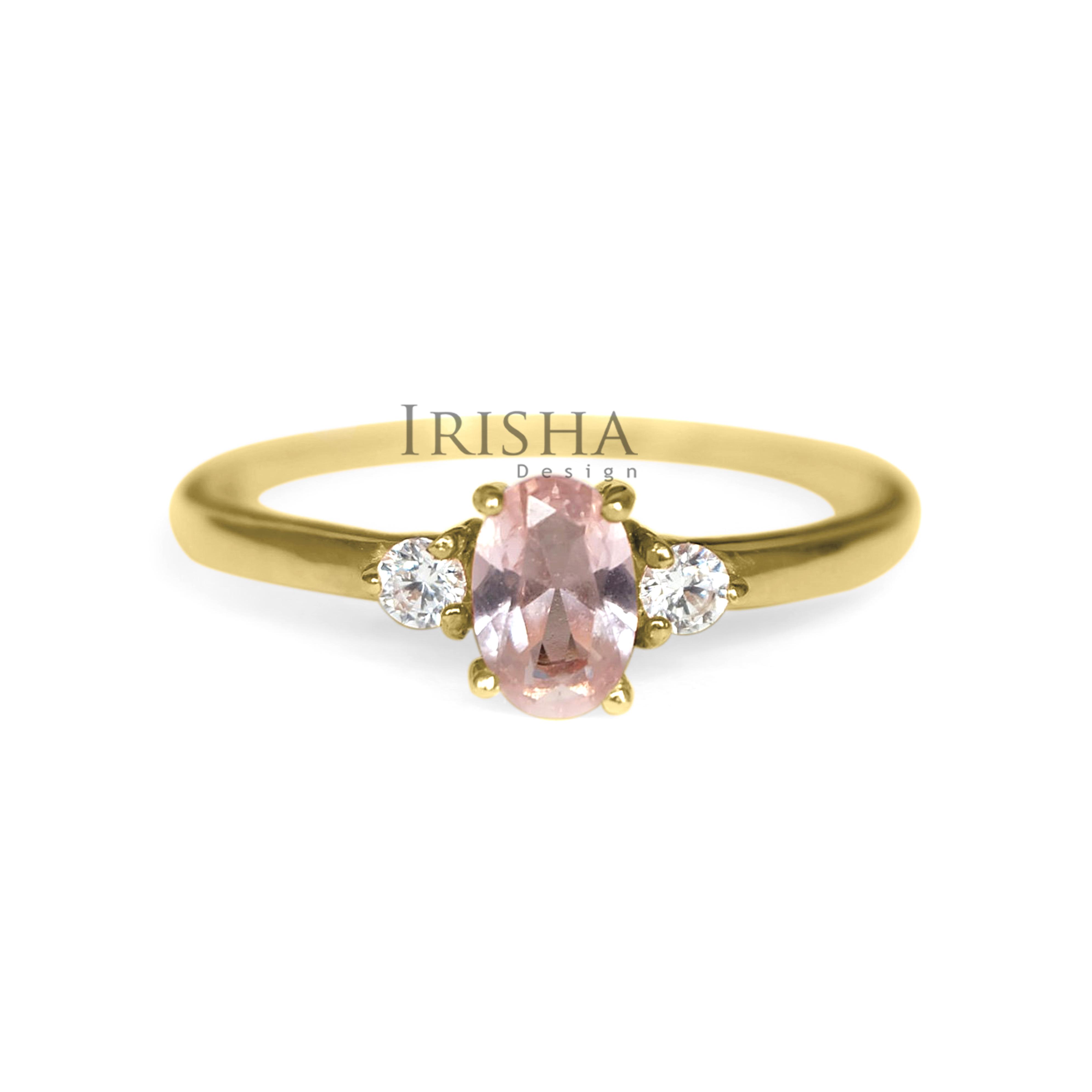 14K Gold Genuine Diamond And Morganite Gemstone Anniversary Ring Fine Jewelry