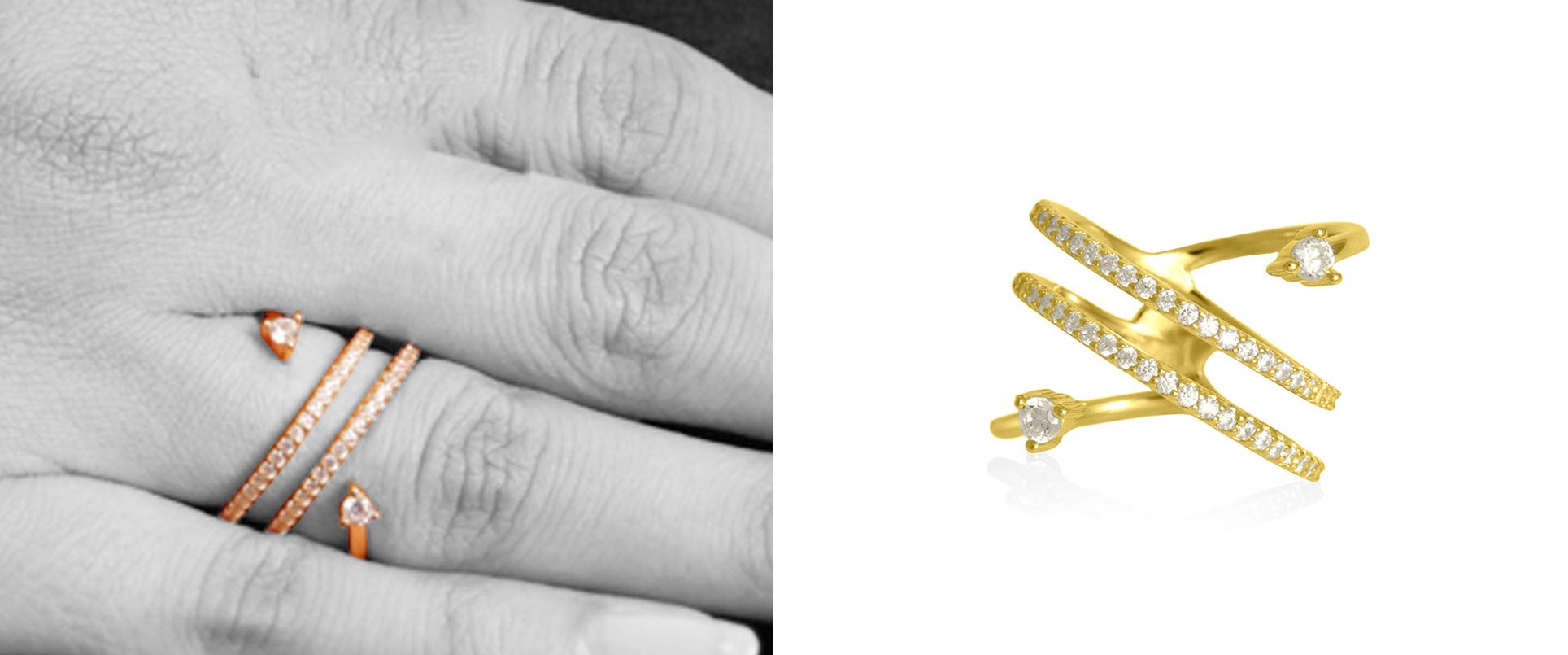 14K Gold 0.28 Ct. Genuine Diamond Brilliant Spiral Delicate Ring Fine Jewelry