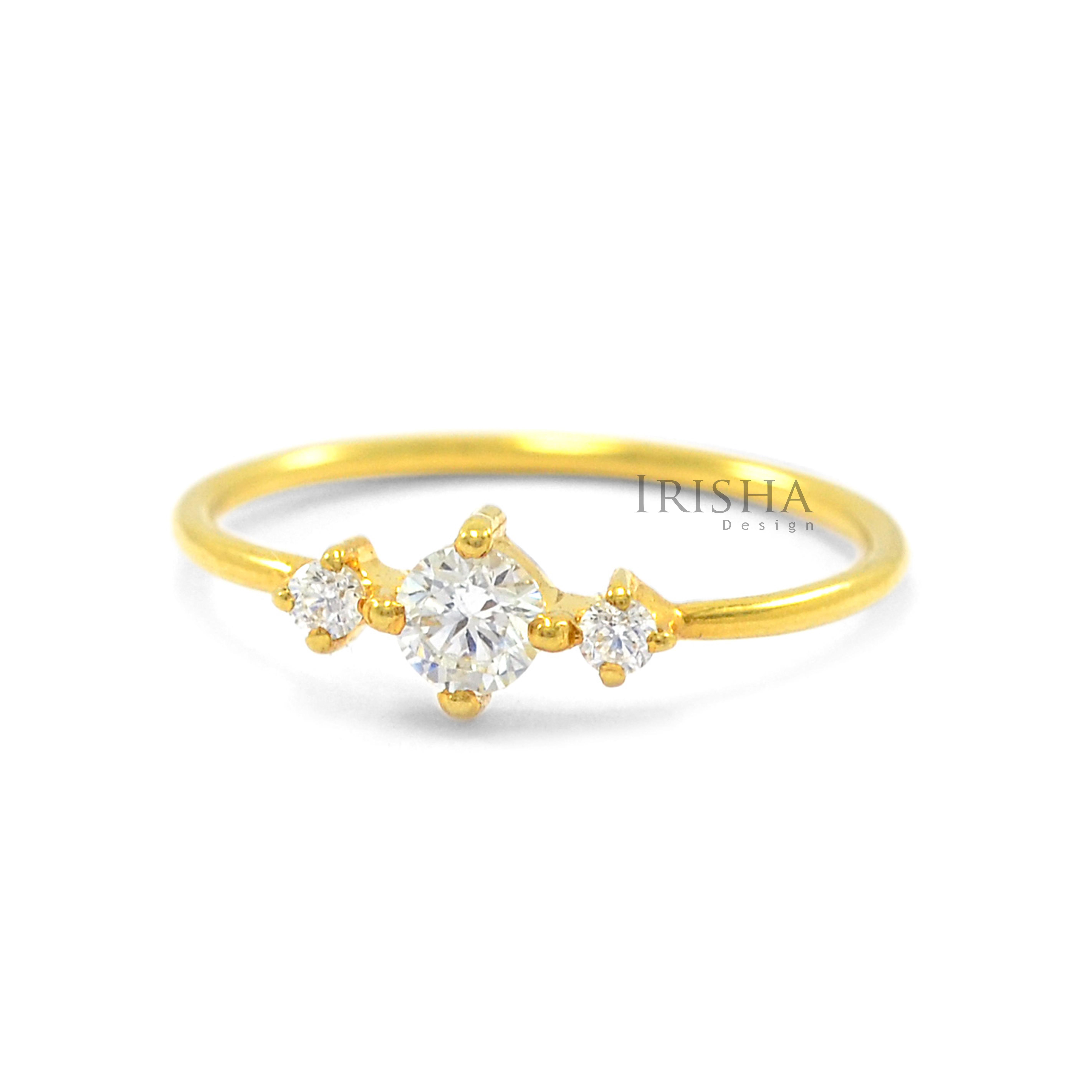14K Gold 0.13 Ct. Genuine Three Diamond Engagement Ring Fine Jewelry Size-3 to 9