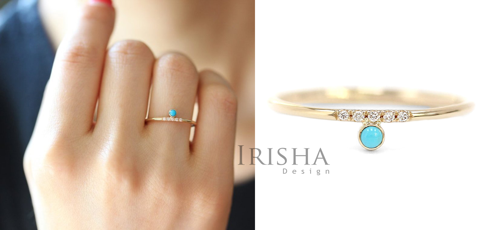 14K Gold Genuine Diamond And Turquoise Delicate Wedding Band Ring Fine Jewelry