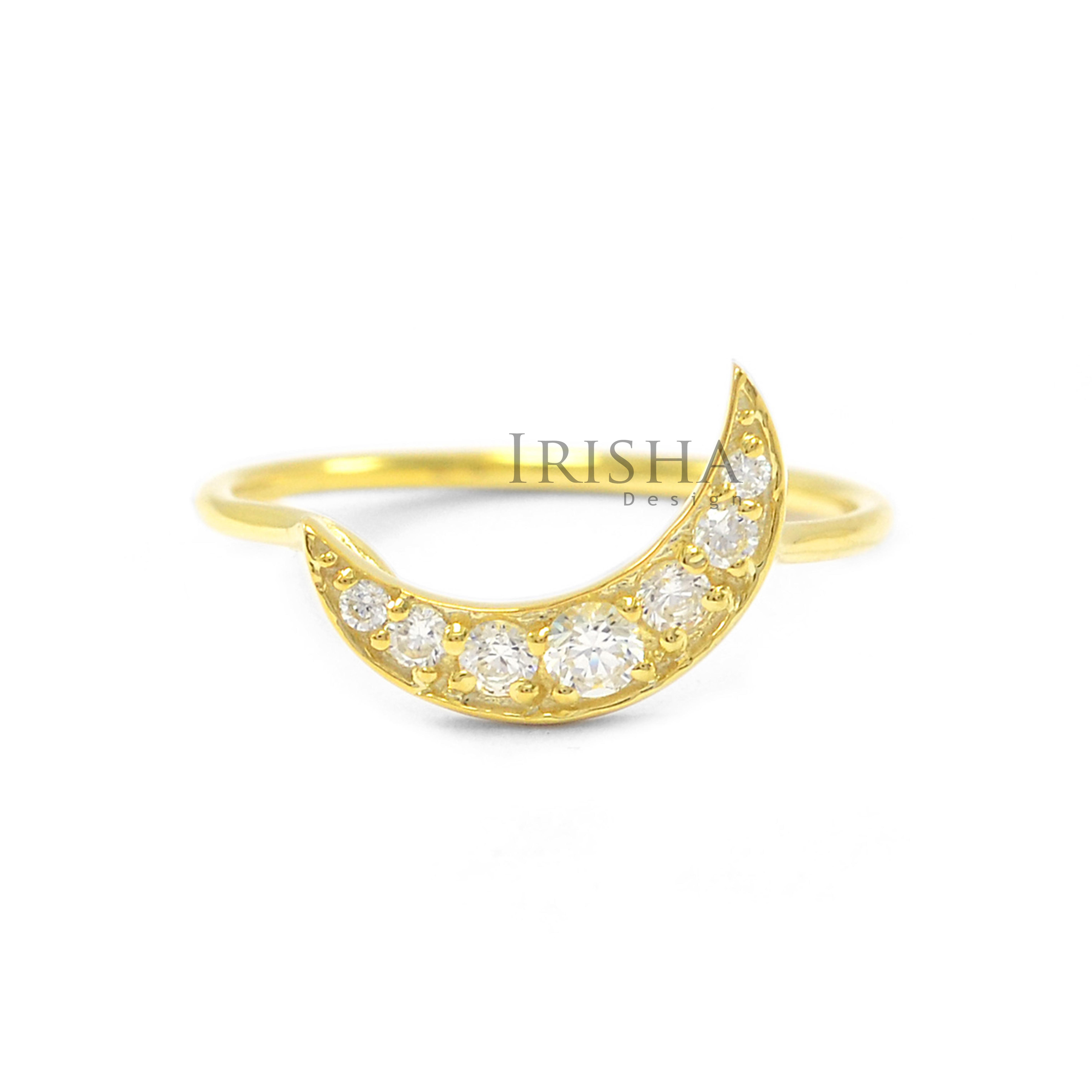 14K Gold 0.21 Ct. Genuine Diamond Crescent Moon Ring Christmas Fine Jewelry