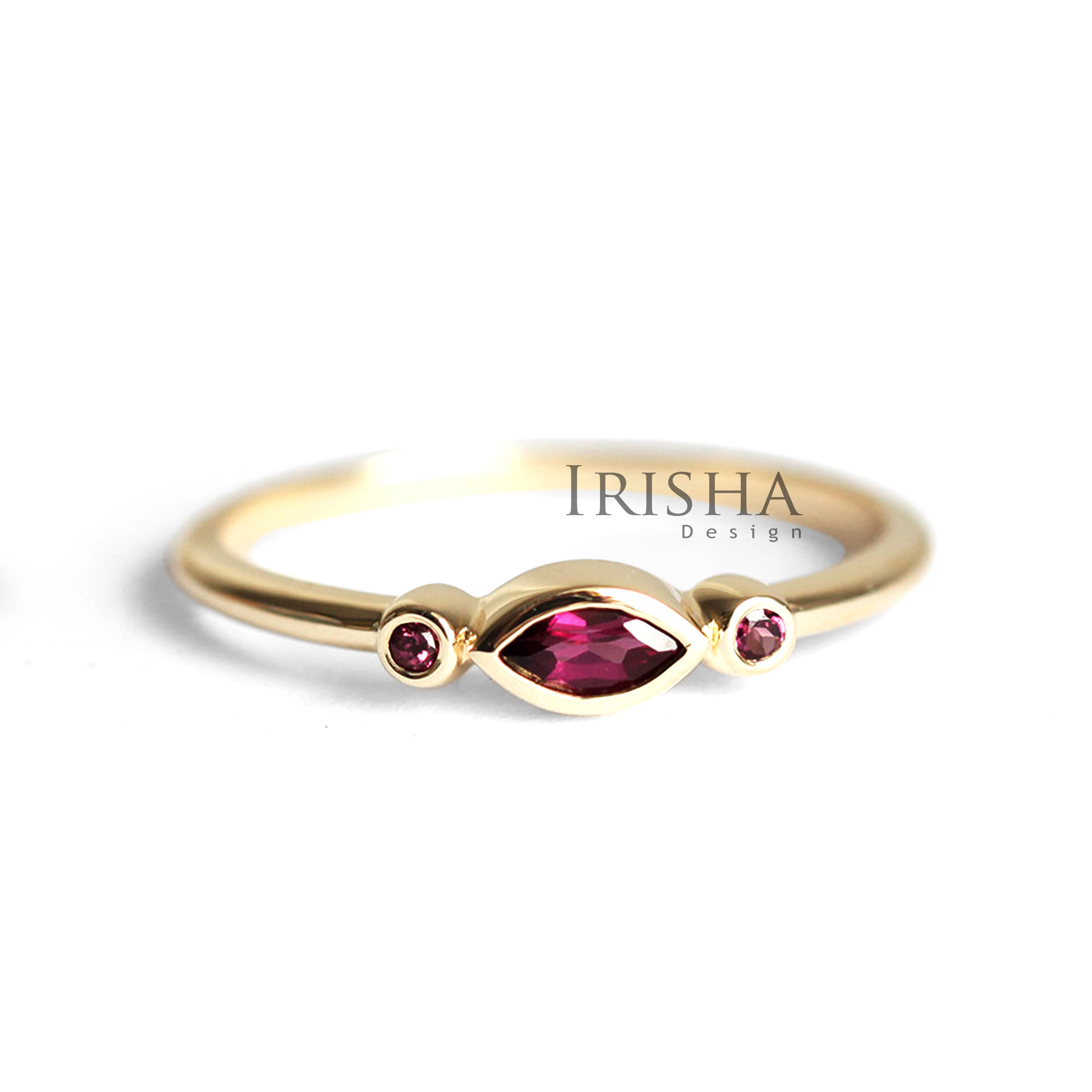 14K Gold 0.1 Ct. Natural Marquise And Round Diamonds Ring Handmade Fine Jewelry