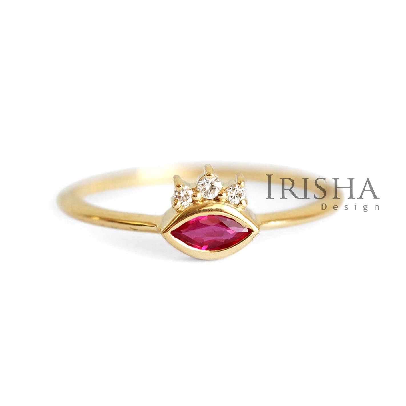 14K Gold 0.13 Ct. Natural Diamond Evil Eye Wedding Ring Handmade Fine Jewelry