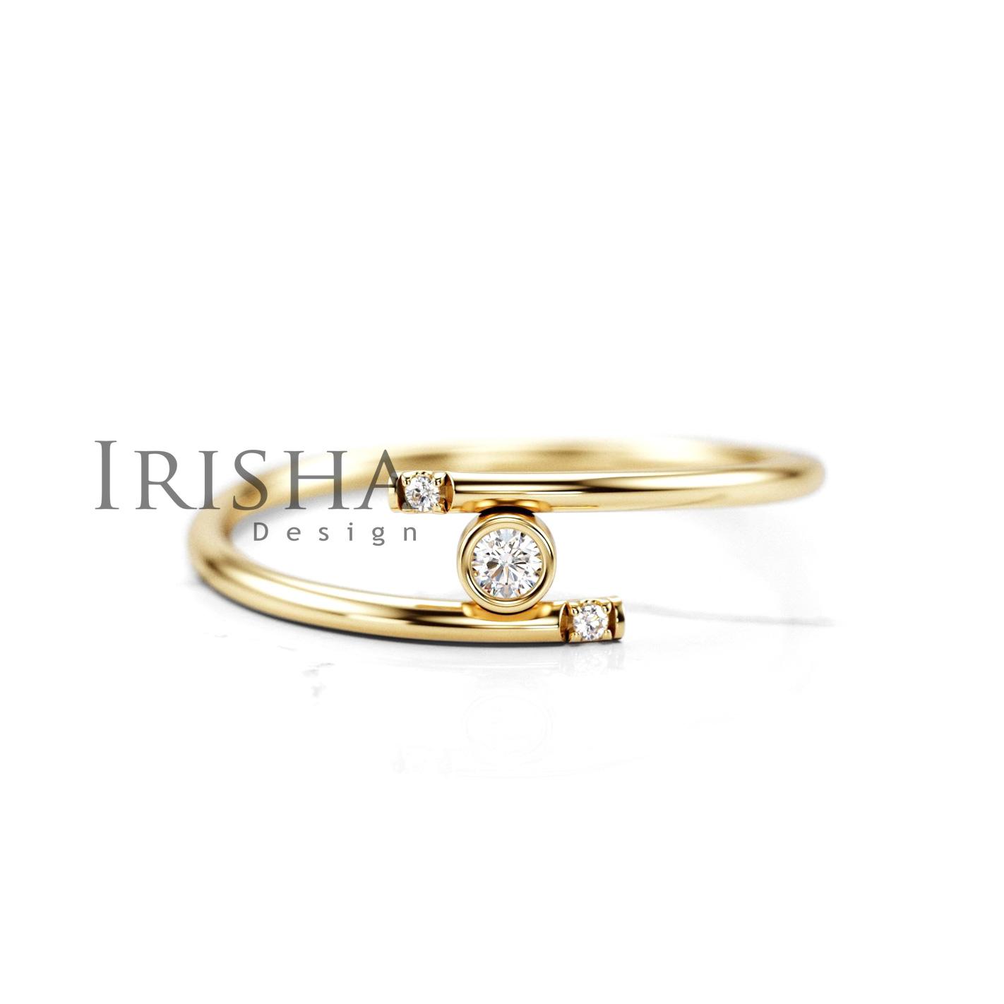14K Gold 0.28 Ct. Natural Diamond Wedding Open Ring Handmade Fine Jewelry