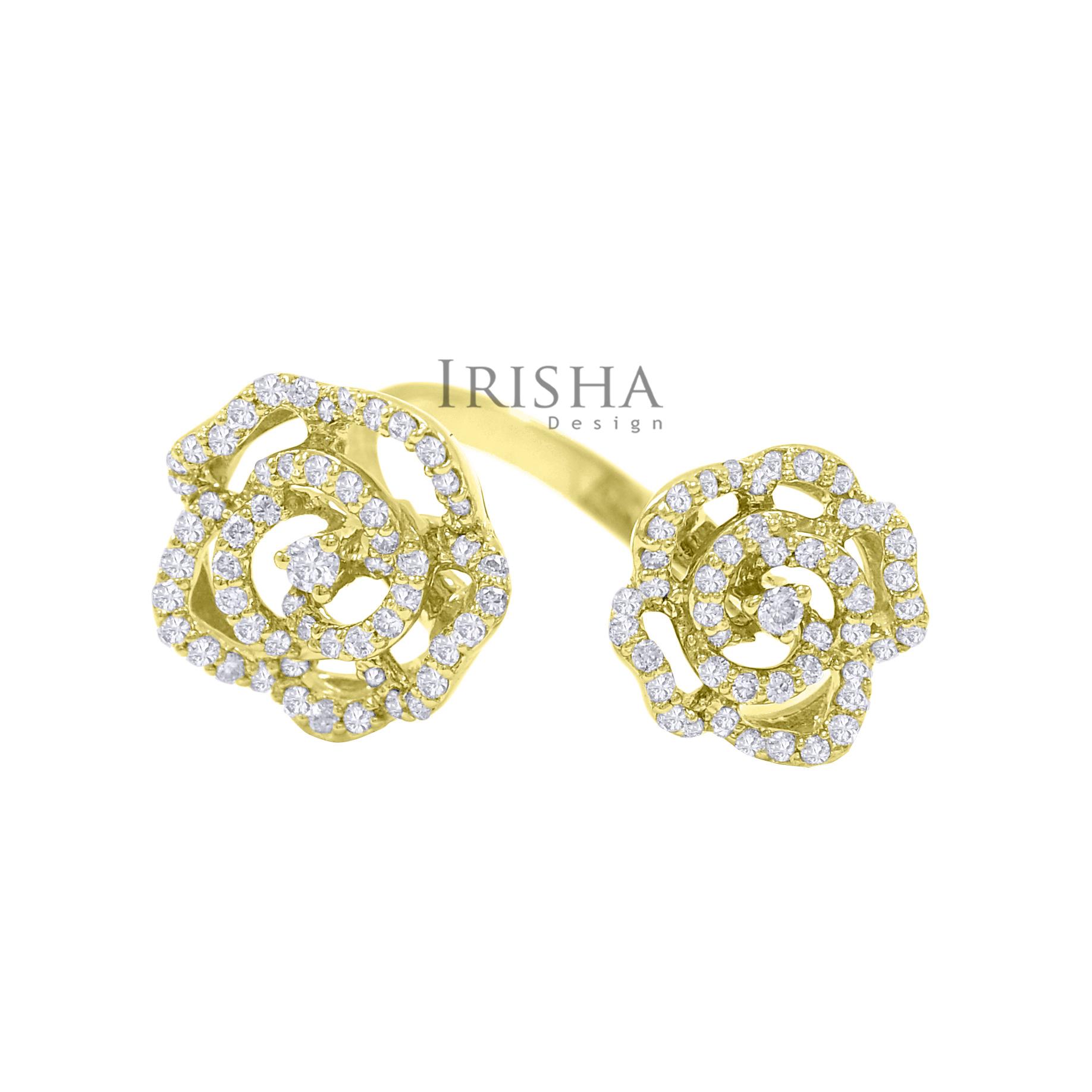 18K Gold 0.75 Ct. Genuine Diamonds Double Flower Open Cuff Ring Fine Jewelry