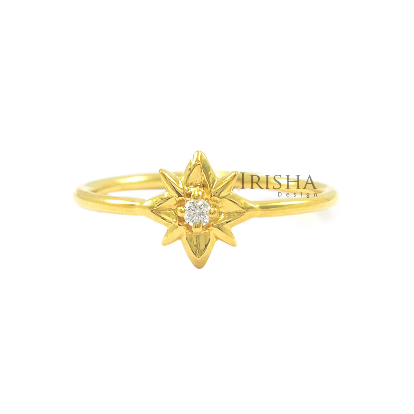 14K Gold 0.02 Ct. Solitaire Genuine Diamond Starburst Fine Ring Size - 3 to 9 US