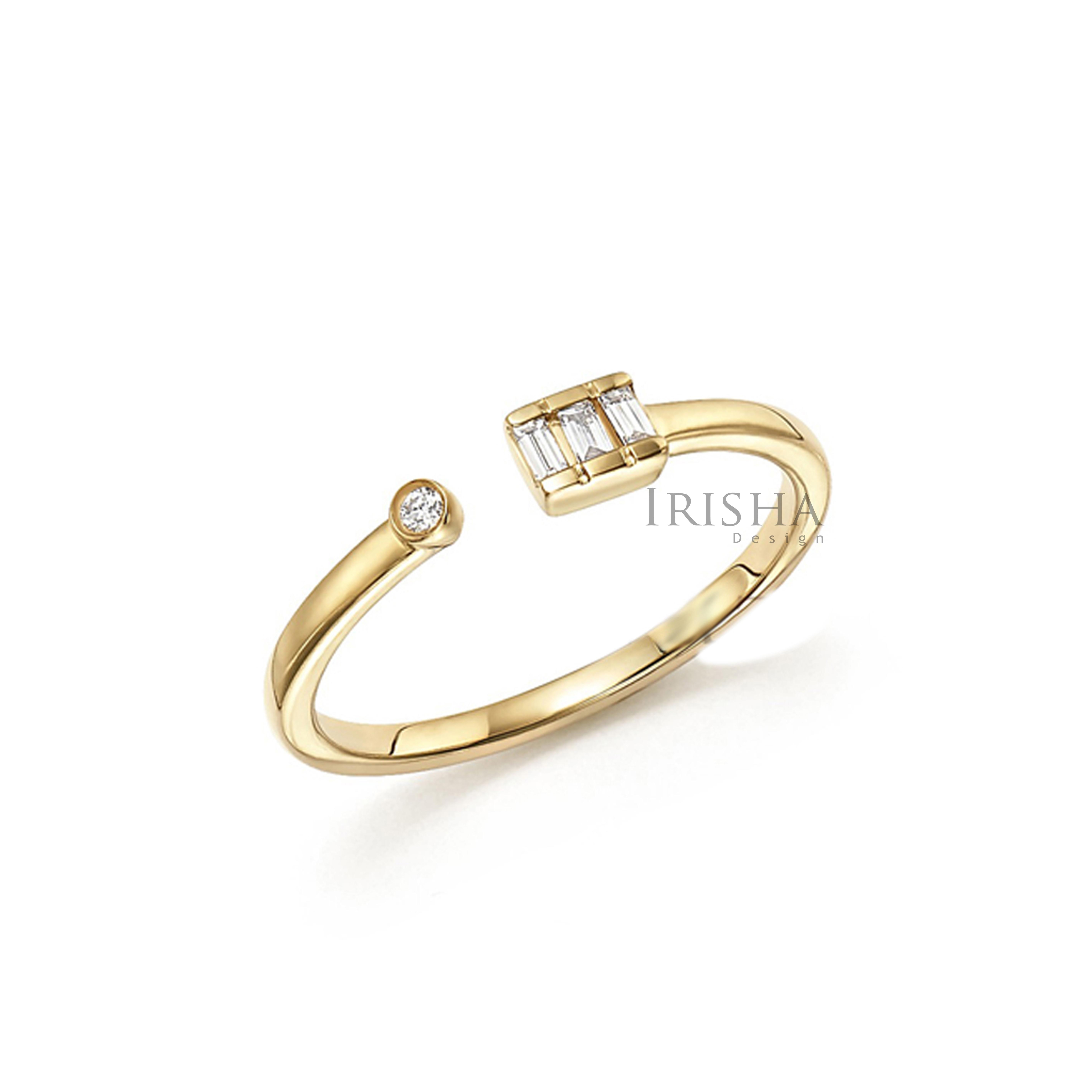 14K Gold 0.15 Ct. Genuine Baguette And Round Diamond Open Cuff Ring Fine Jewelry