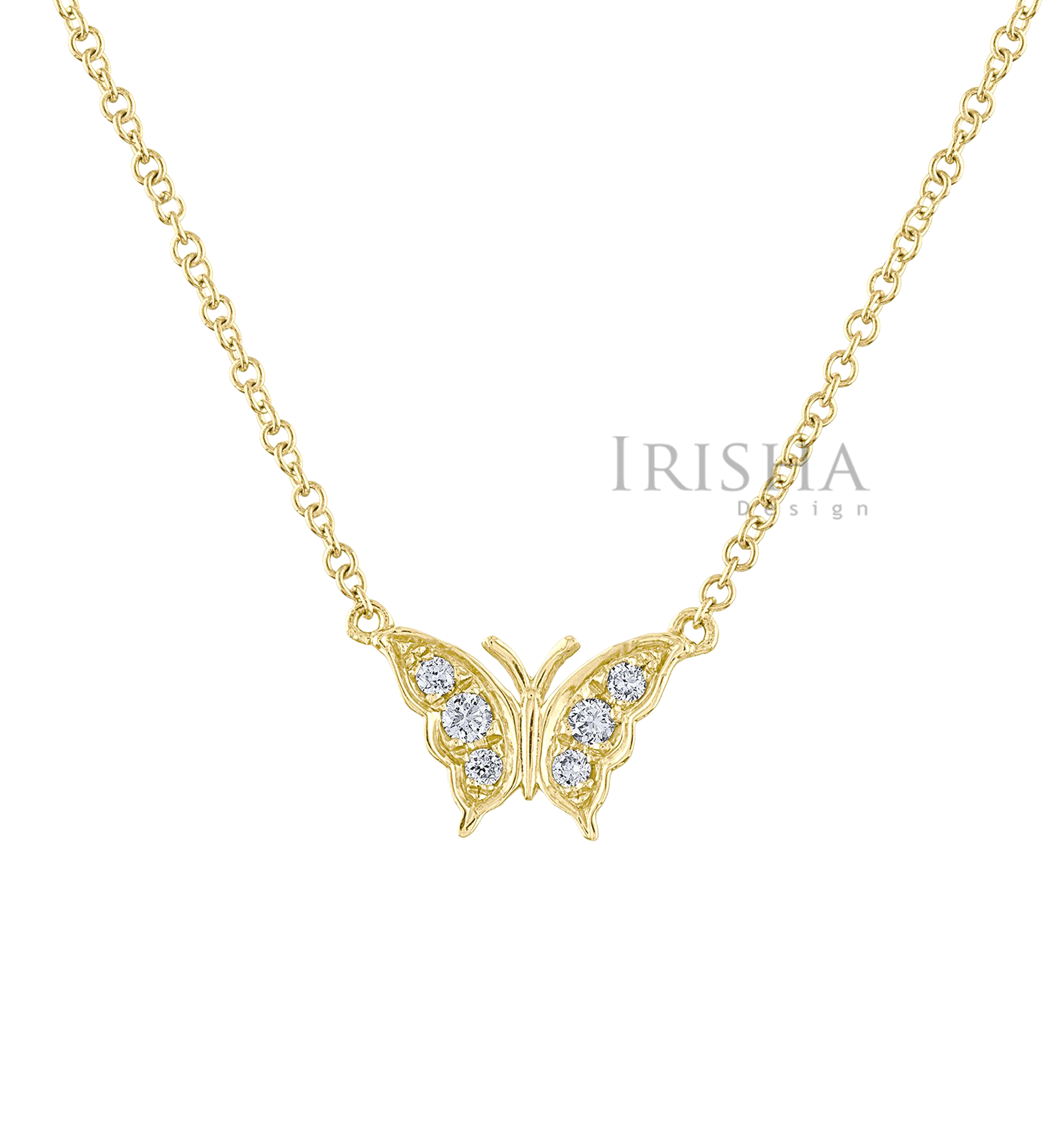 14K Gold 0.08 Ct. Genuine Diamond Butterfly Charm Pendant Necklace Jewelry