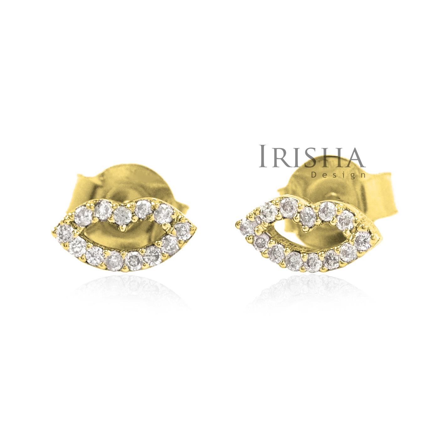 14K Gold 0.13 Ct. Genuine Diamond Lips Design Smile Studs Earrings Fine Jewelry