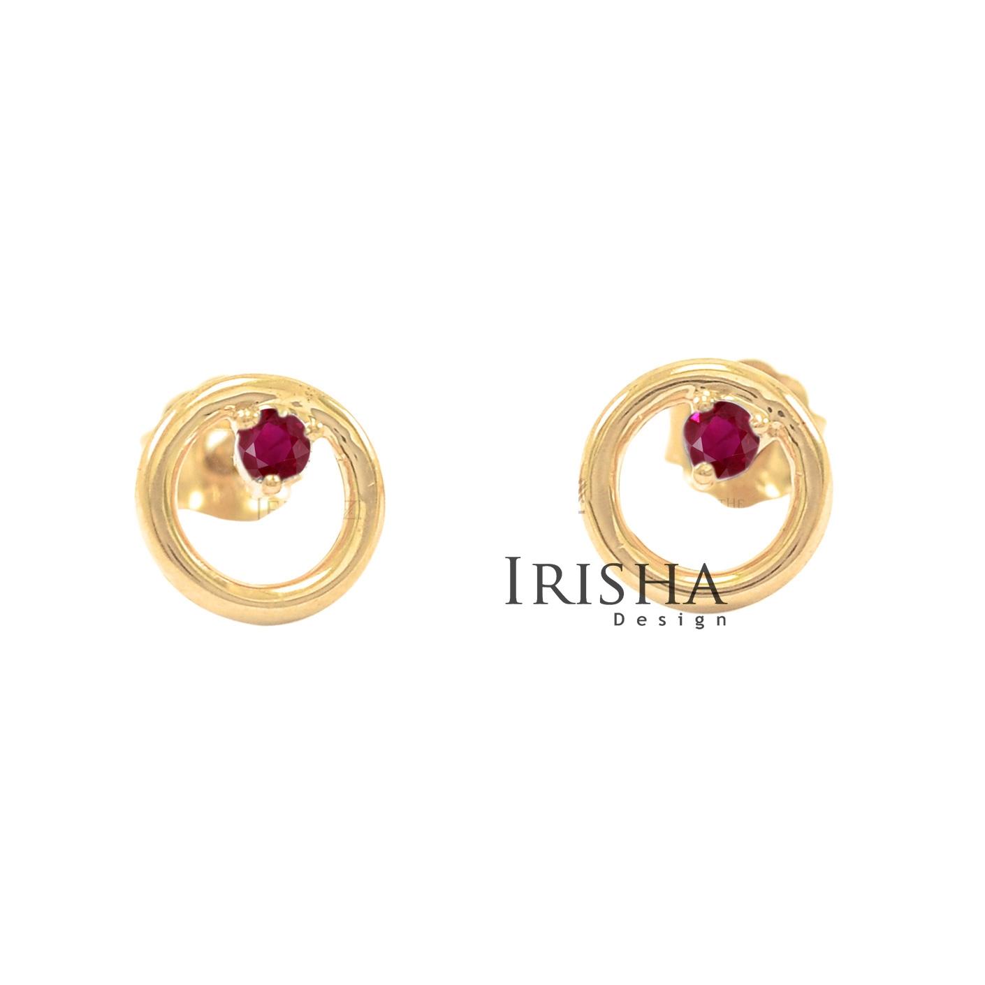 14K Gold 0.08 Ct. Genuine Diamond Open Circle Studs Earrings Fine Jewelry