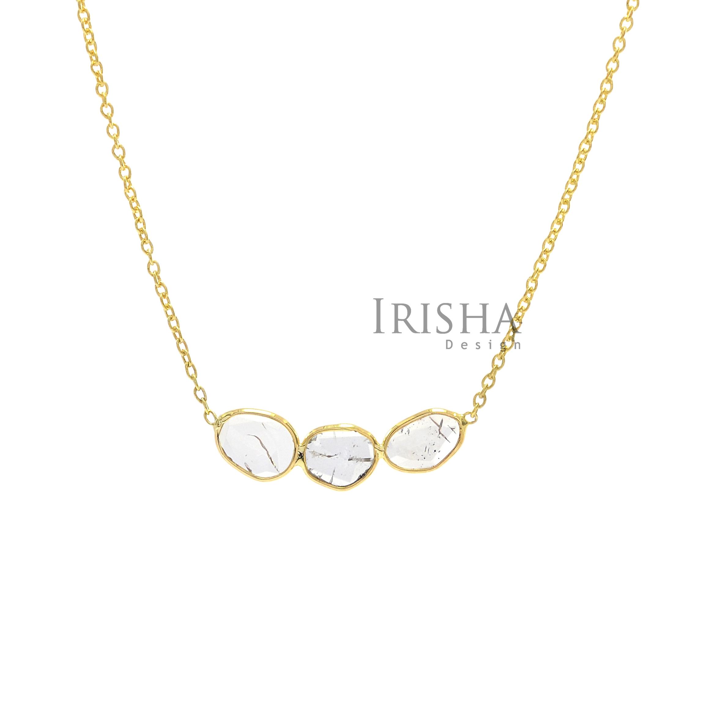 14K Gold 0.40 Ct. Genuine Slice Diamonds Necklace Handmade Fine Jewelry