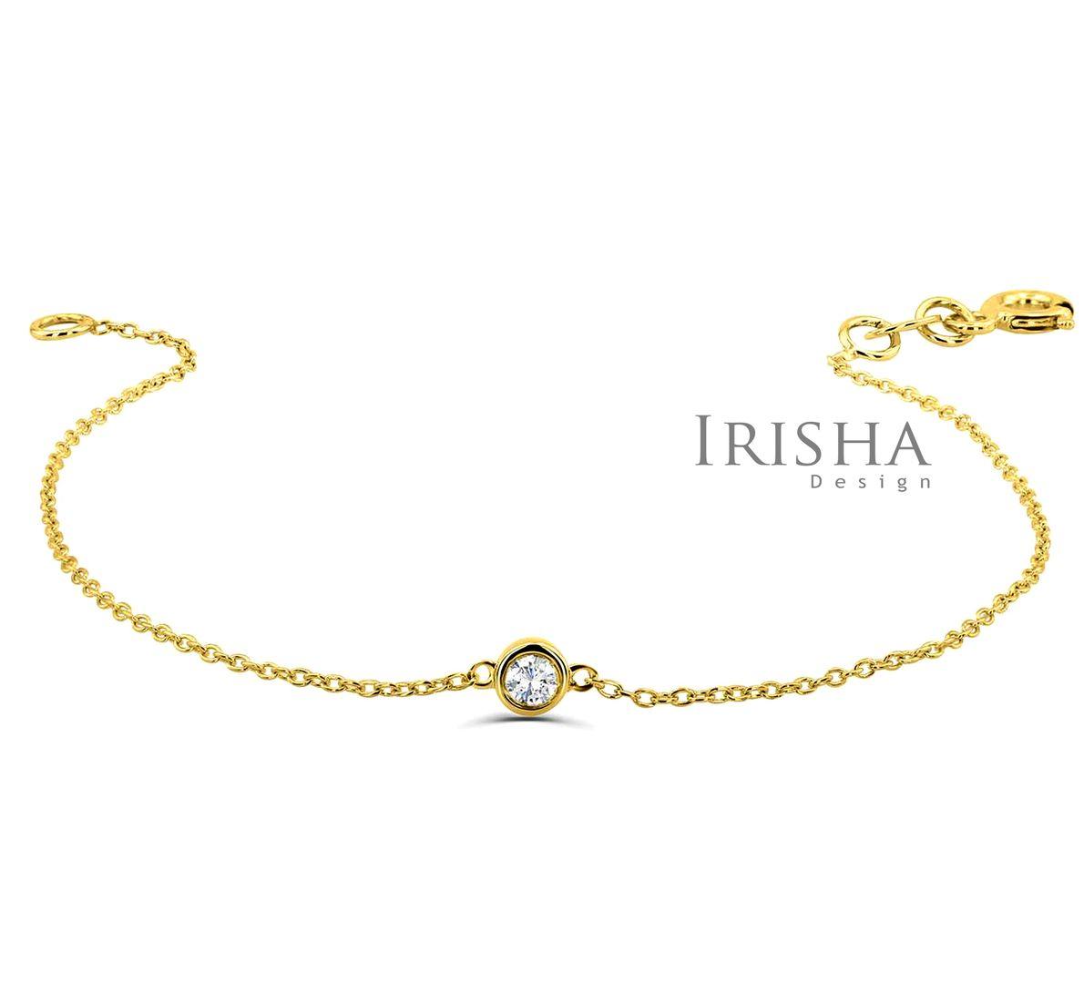 14K Gold 0.07 Ct. Solitaire Genuine Diamond Wedding Chain Bracelet Fine Jewelry