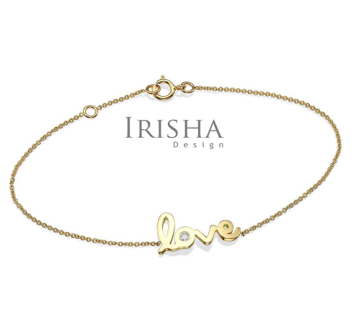 14K Gold 0.03 Ct. Genuine Diamond Love Script Chain Bracelet Fine Jewelry