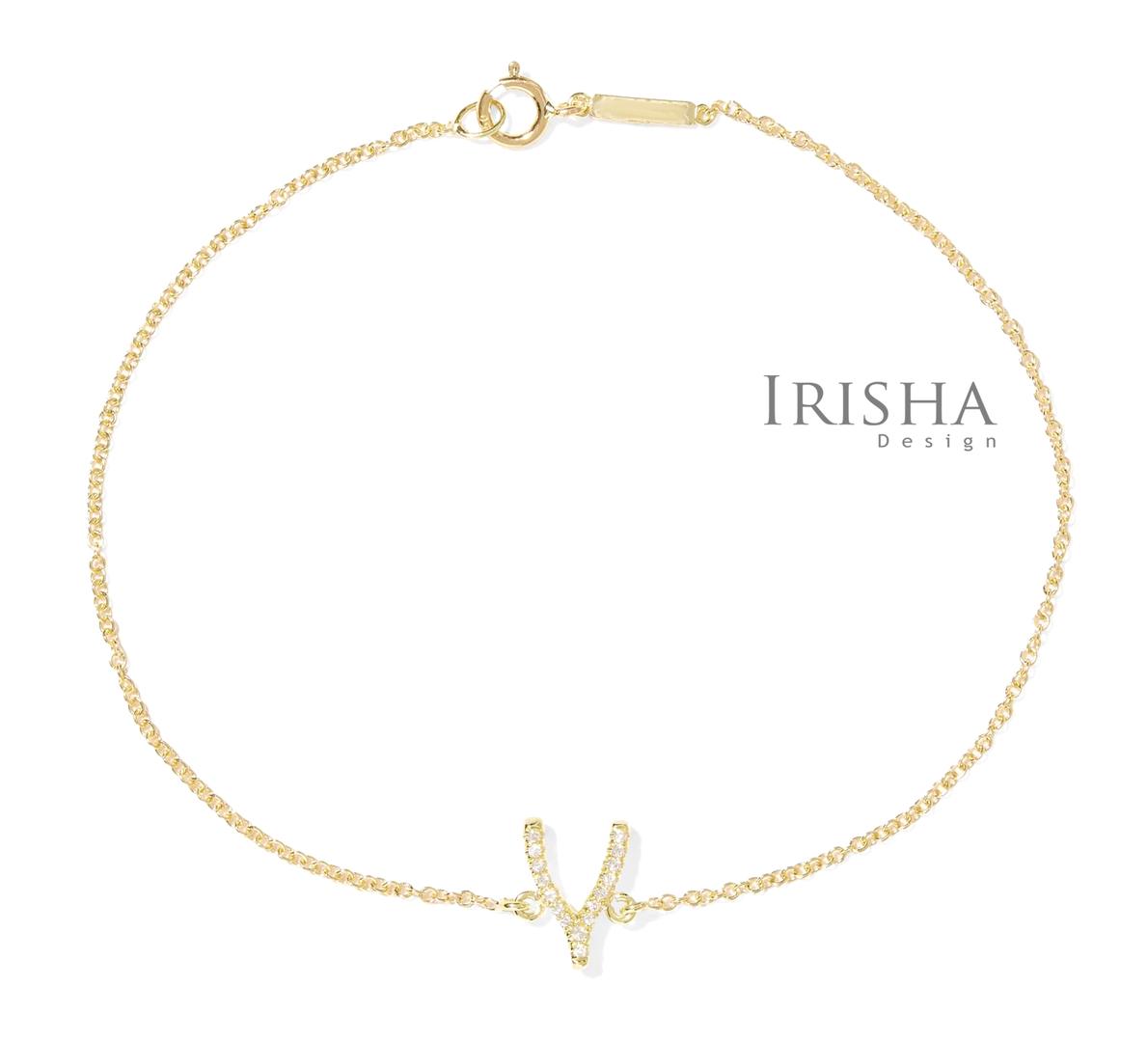 14K Gold 0.10 Ct. Genuine Diamond Wishbone Chain Bracelet Christmas Fine Jewelry