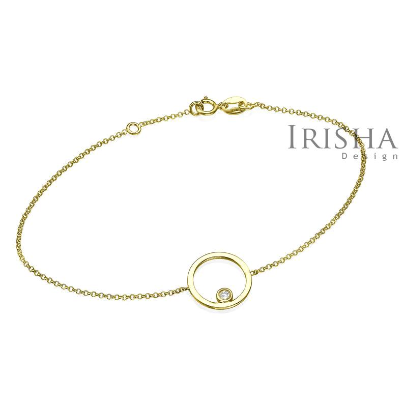 14K Gold 0.03 Ct. Genuine Diamond 10 mm Open Circle Chain Bracelet Fine Jewelry