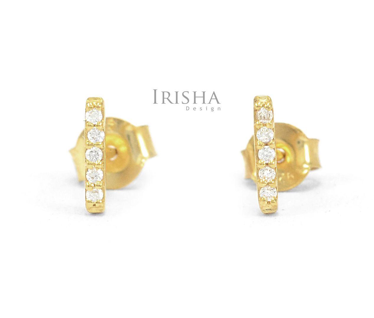 14K Gold 0.10 Ct. Genuine Diamond Tiny Bar Minimalist Earrings Fine Jewelry