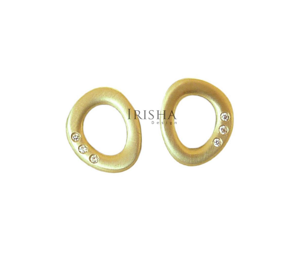 14K Gold 0.03 Ct. Genuine Diamond Unique Minimalist Studs Earrings Fine Jewelry