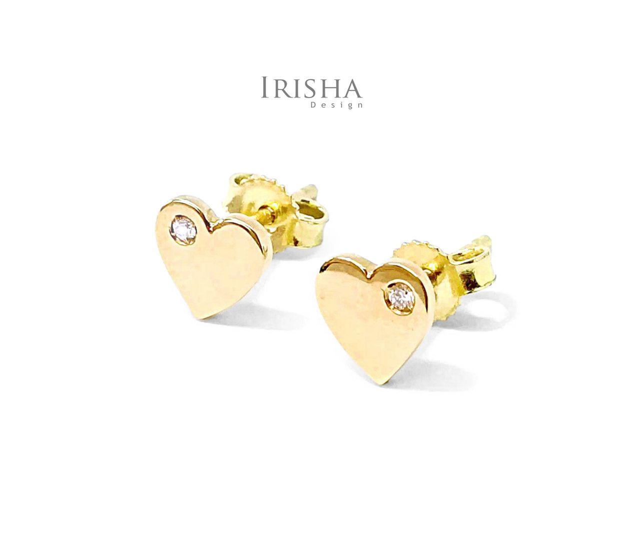 14K Gold 0.03 Ct. Genuine Diamond Heart Earrings Fine Jewelry