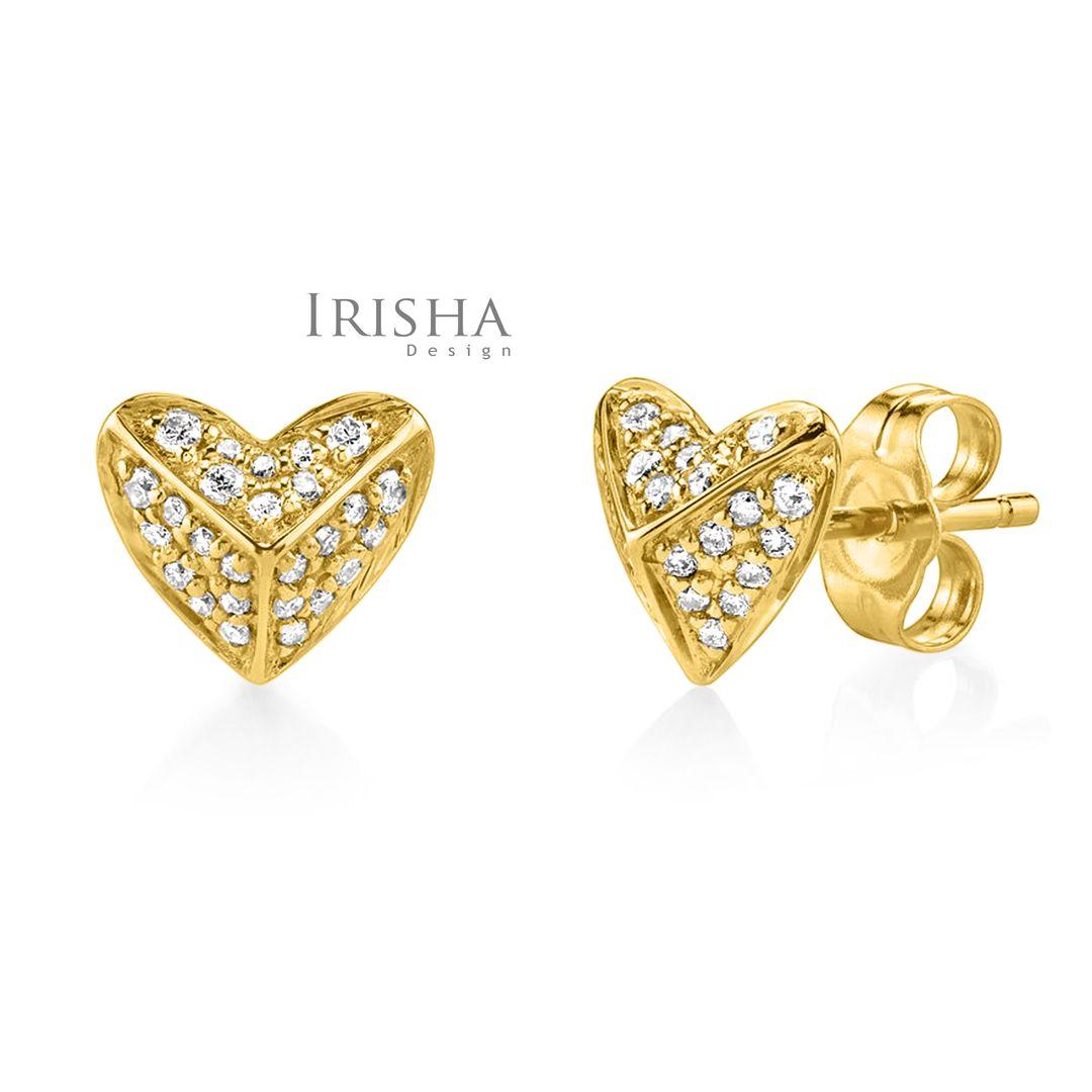 14K Gold 0.26 Ct. Genuine Diamonds Heart Earrings Fine Jewelry