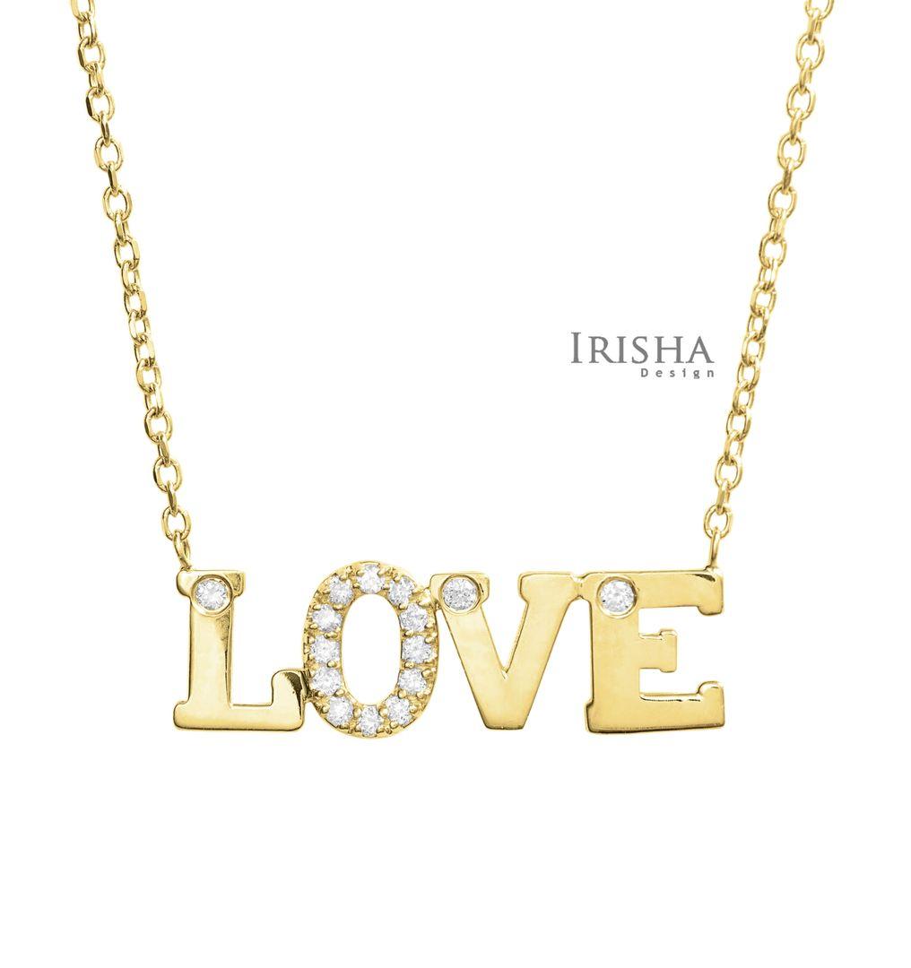 14K Gold 0.10 Ct. Genuine Diamond Love Pendant Necklace Fine Jewelry