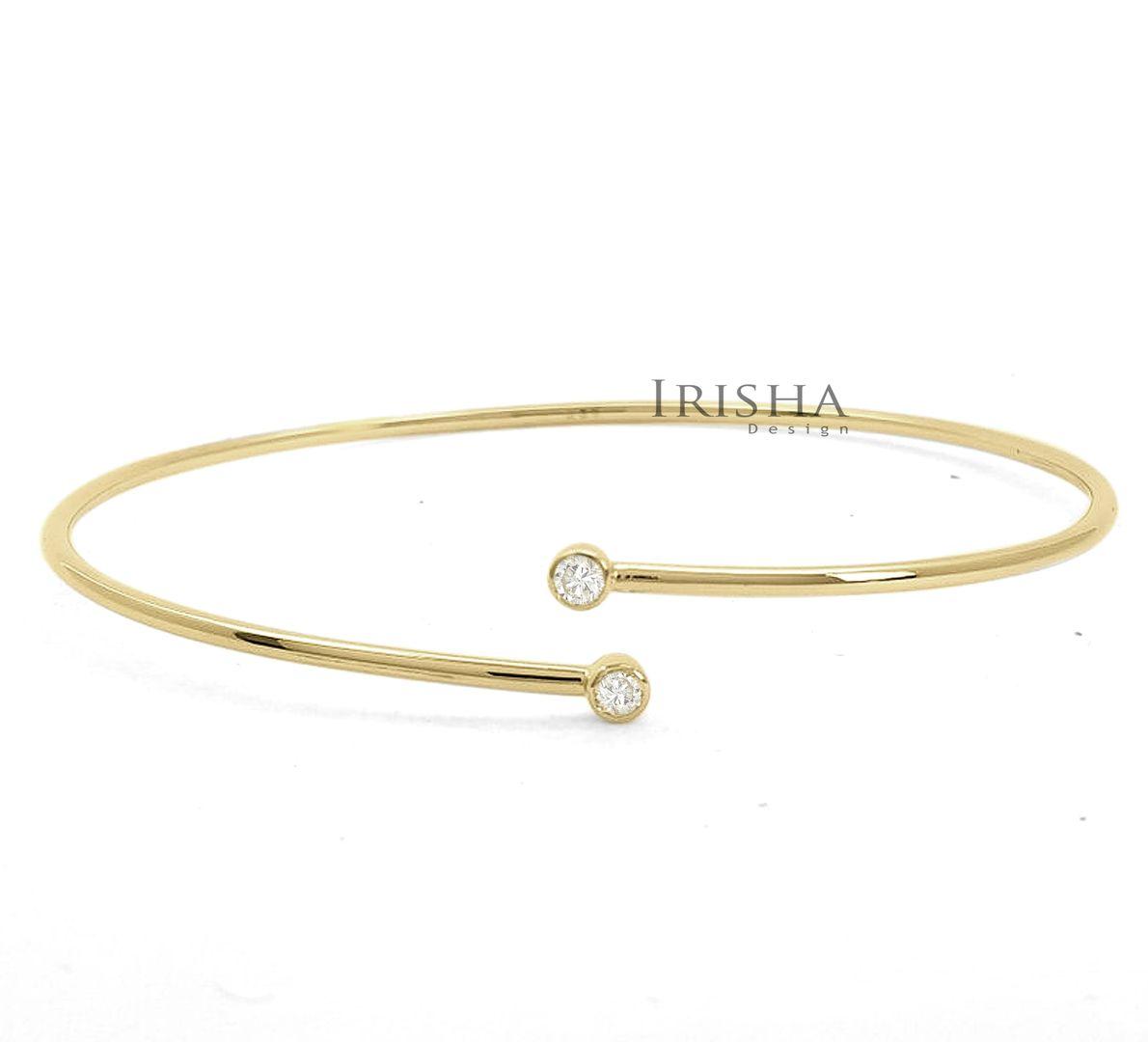14K Gold 0.1 Ct. Genuine Diamond Open Cuff Handmade Bangle Bracelet Fine Jewelry