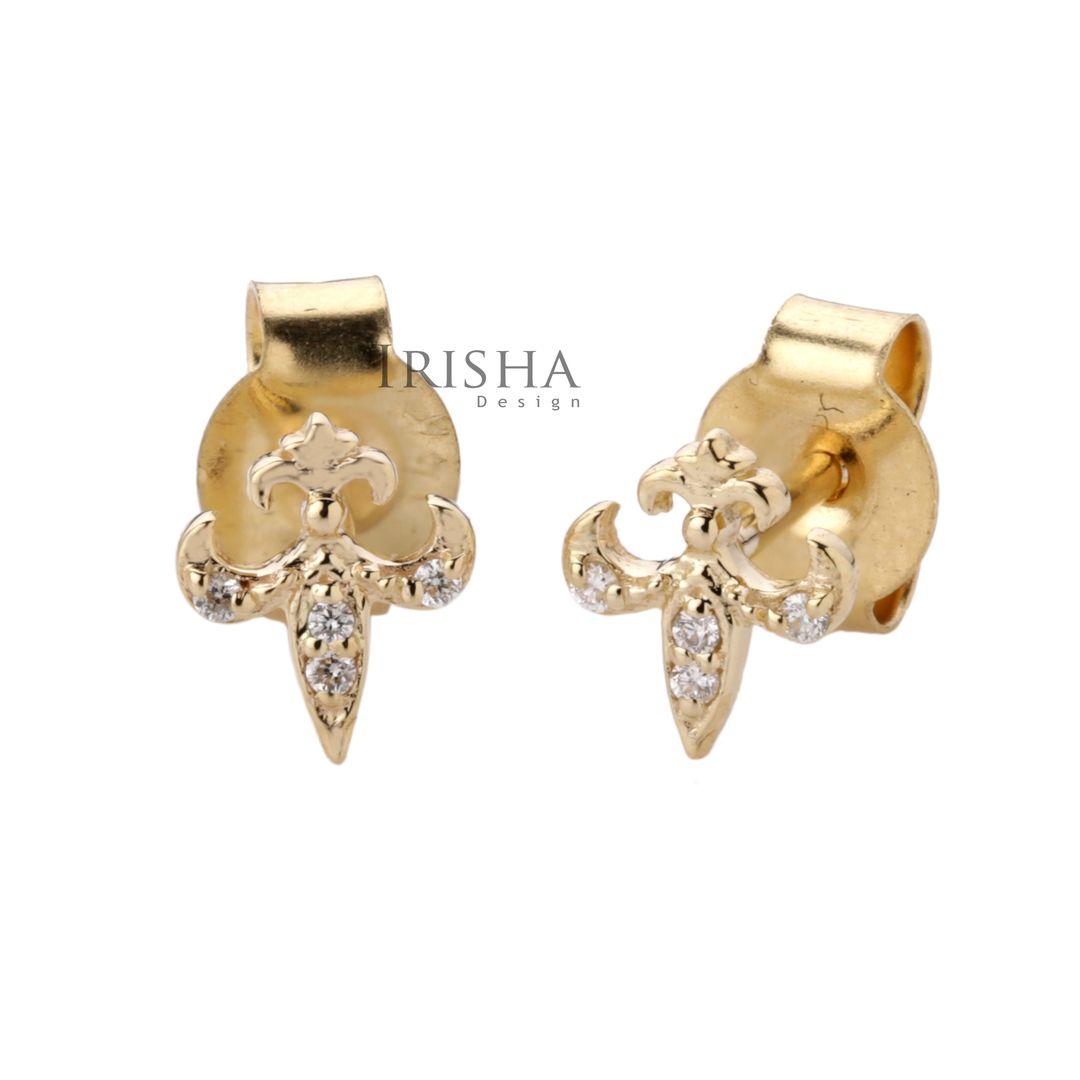 14K Gold 0.03 Ct. Genuine Diamond Tiny Sword Stud Earrings Fine Jewelry