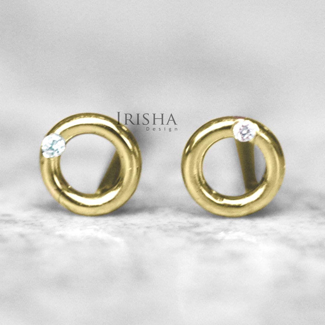 14K Gold 0.03 Ct. Genuine Diamond Donut Shape Mini Studs Earrings Fine Jewelry