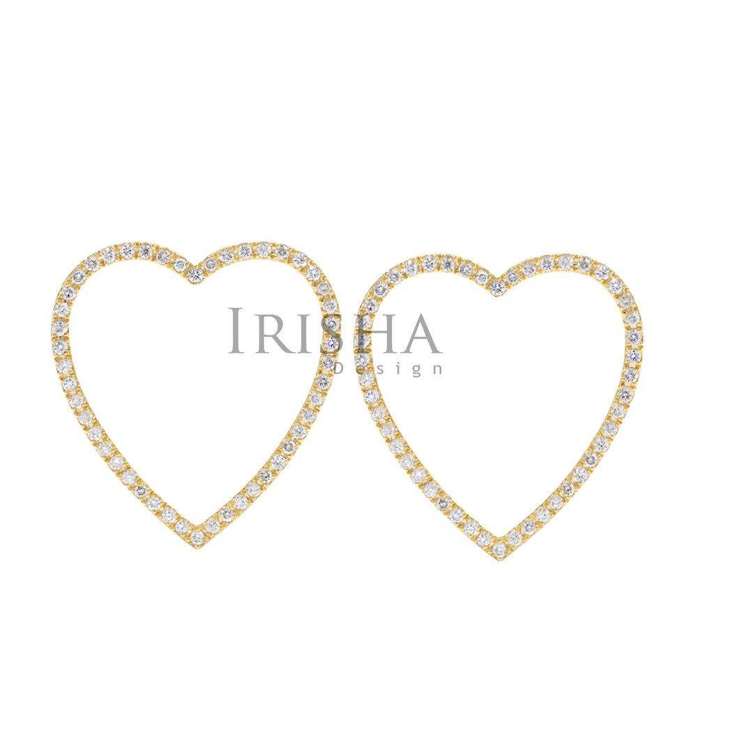 14K Gold 0.50 Ct. Genuine Diamond Love Heart Earrings Fine Jewelry