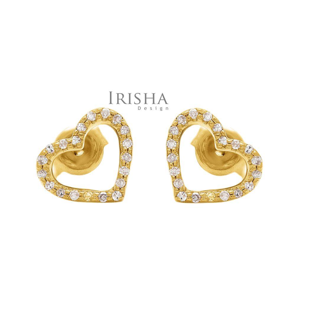 14K Gold 0.20 Ct. Genuine Diamond Love Heart Earrings Fine Jewelry