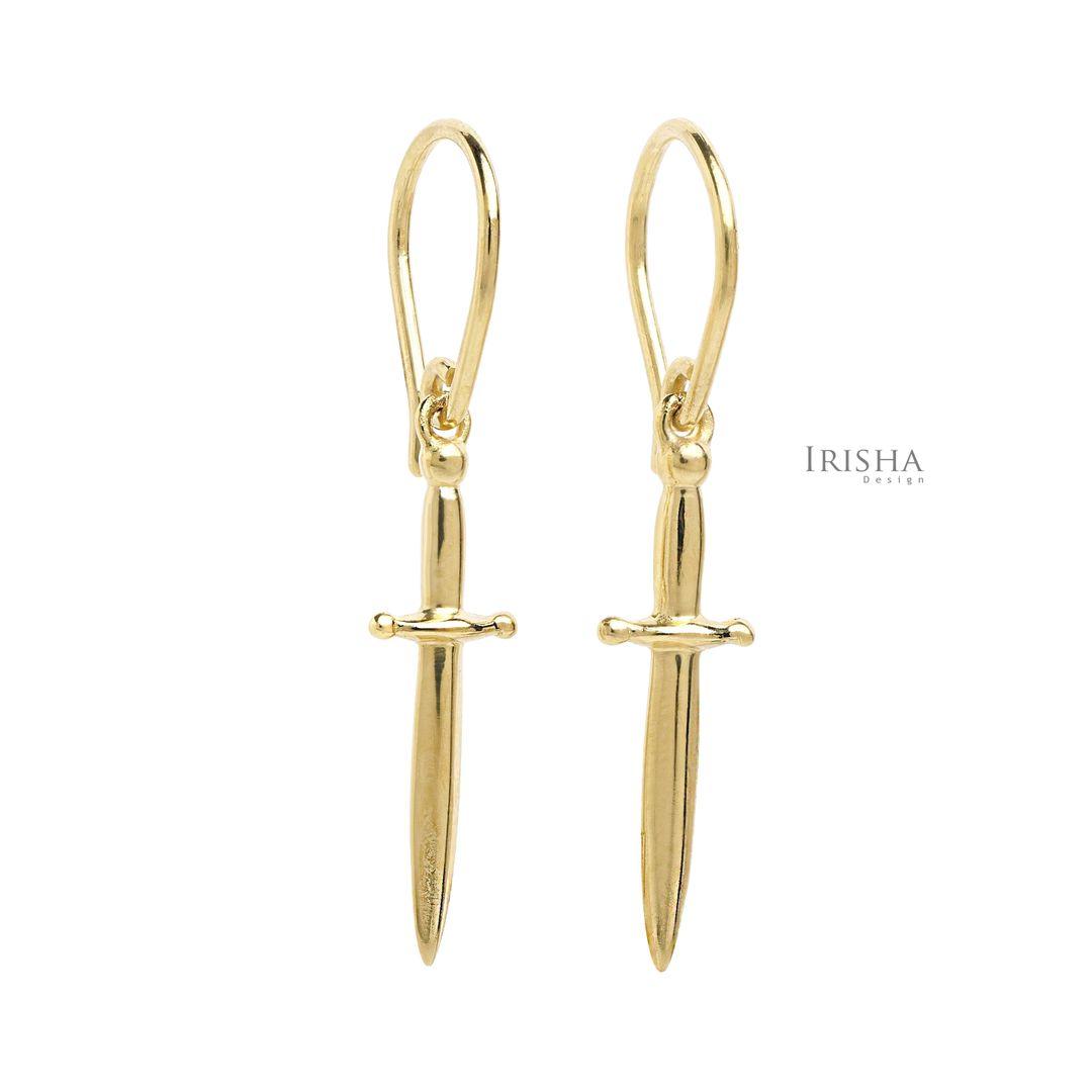 14K Solid Sword Dagger Design Drop Dangle Hook Earrings Fine Jewelry