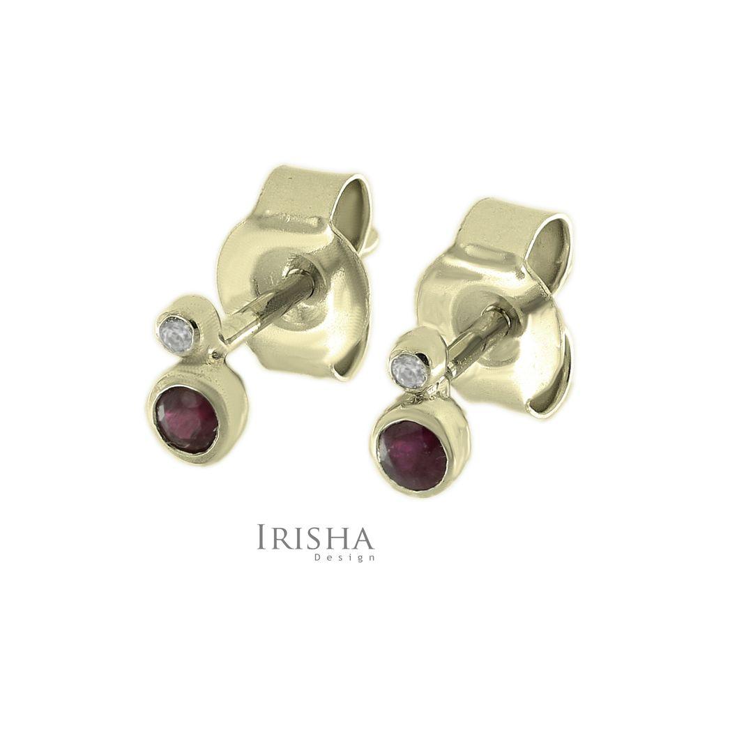 14K Gold Genuine Diamond And Ruby Gemstone 5 mm Tiny Minimalist Studs Earrings