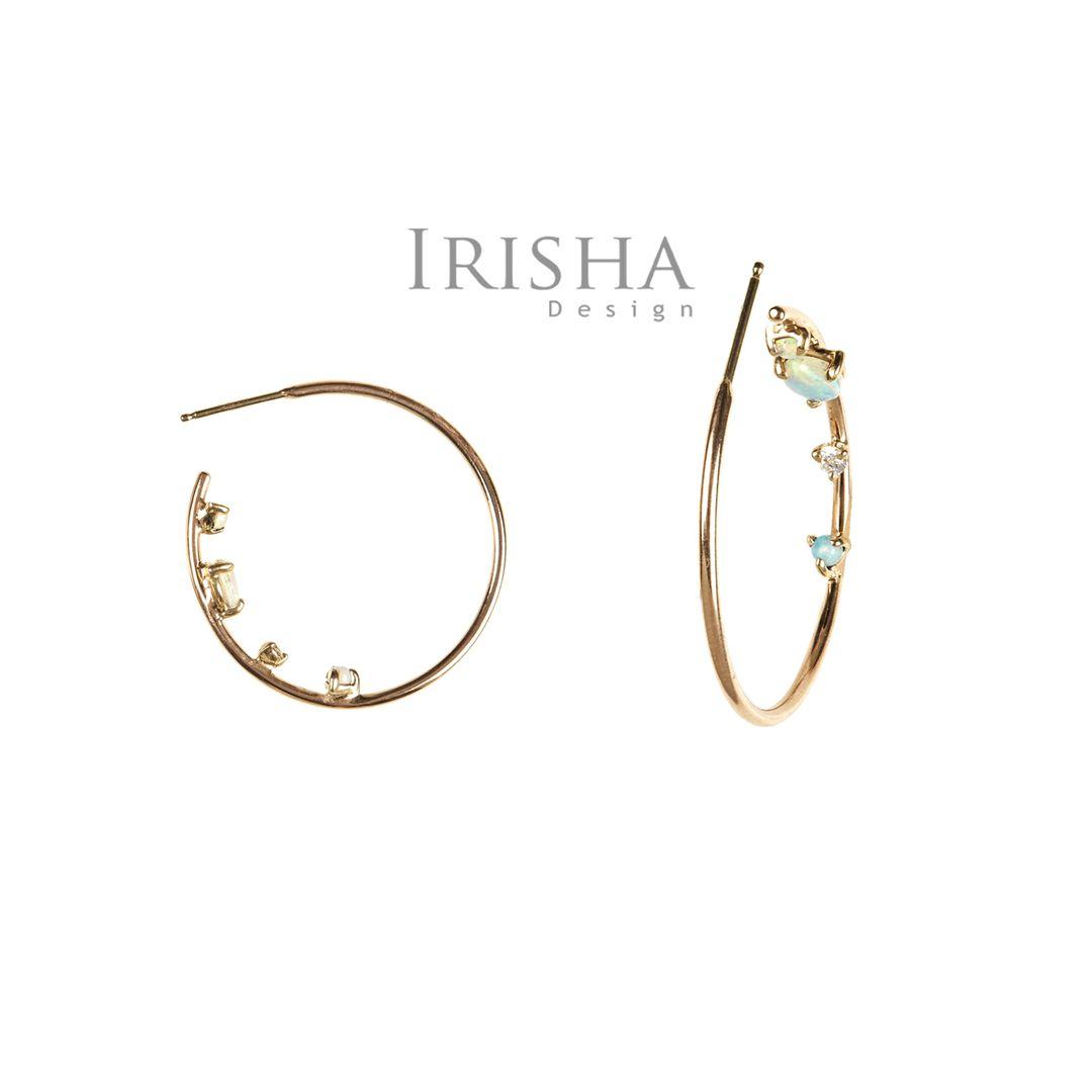 14K Gold Genuine Diamond And Opal Gemstone Inverted Hoop Earrings Fine Jewelry