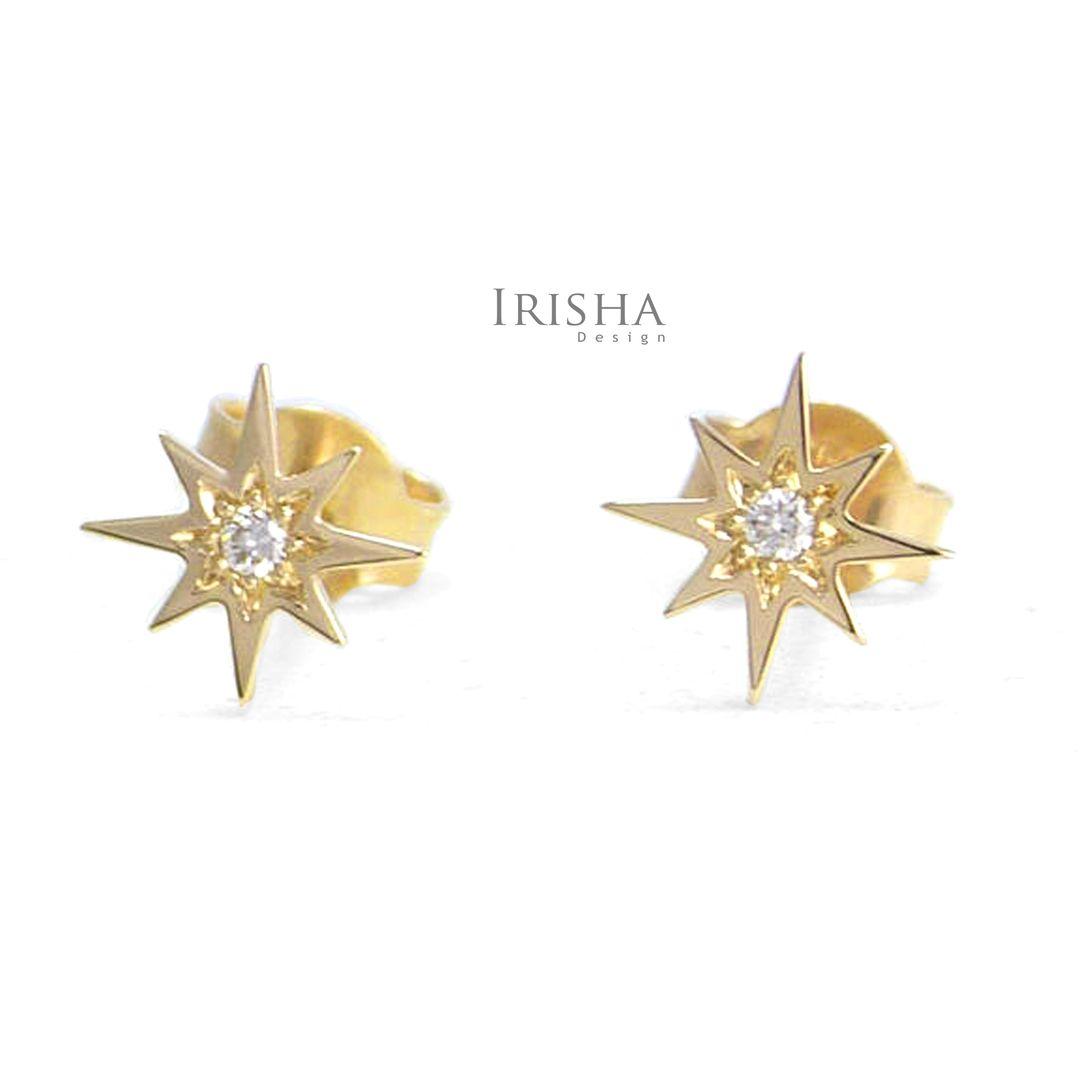 14K Gold 0.04 Ct. Genuine Diamond Mini Starburst Studs Earrings Fine Jewelry