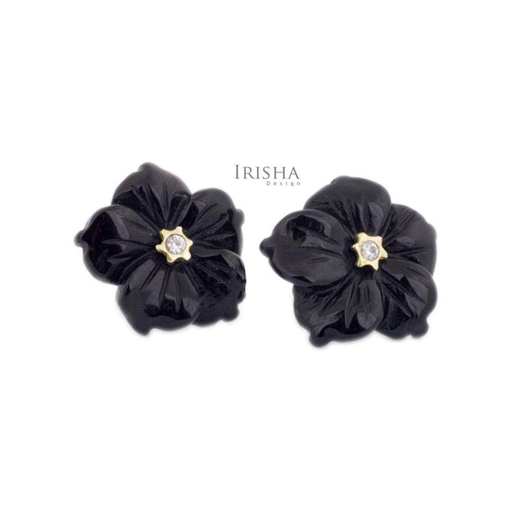 14K Gold Genuine Diamond And Black Onyx Gemstone Floral Jacket Fine Earrings